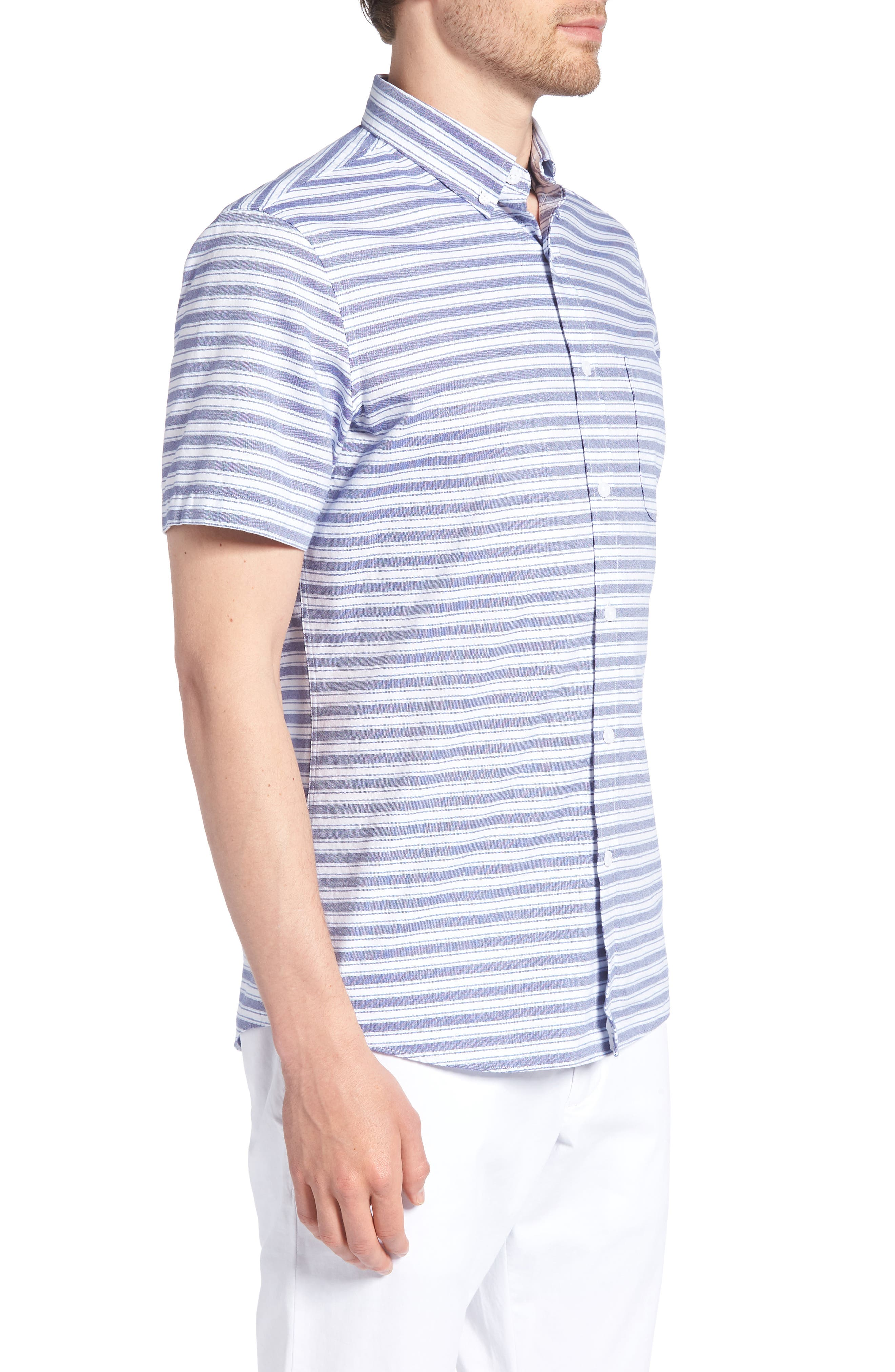 Trim Fit Stripe Round Pocket Sport Shirt,                             Alternate thumbnail 4, color,                             Tonal Blue Stripe