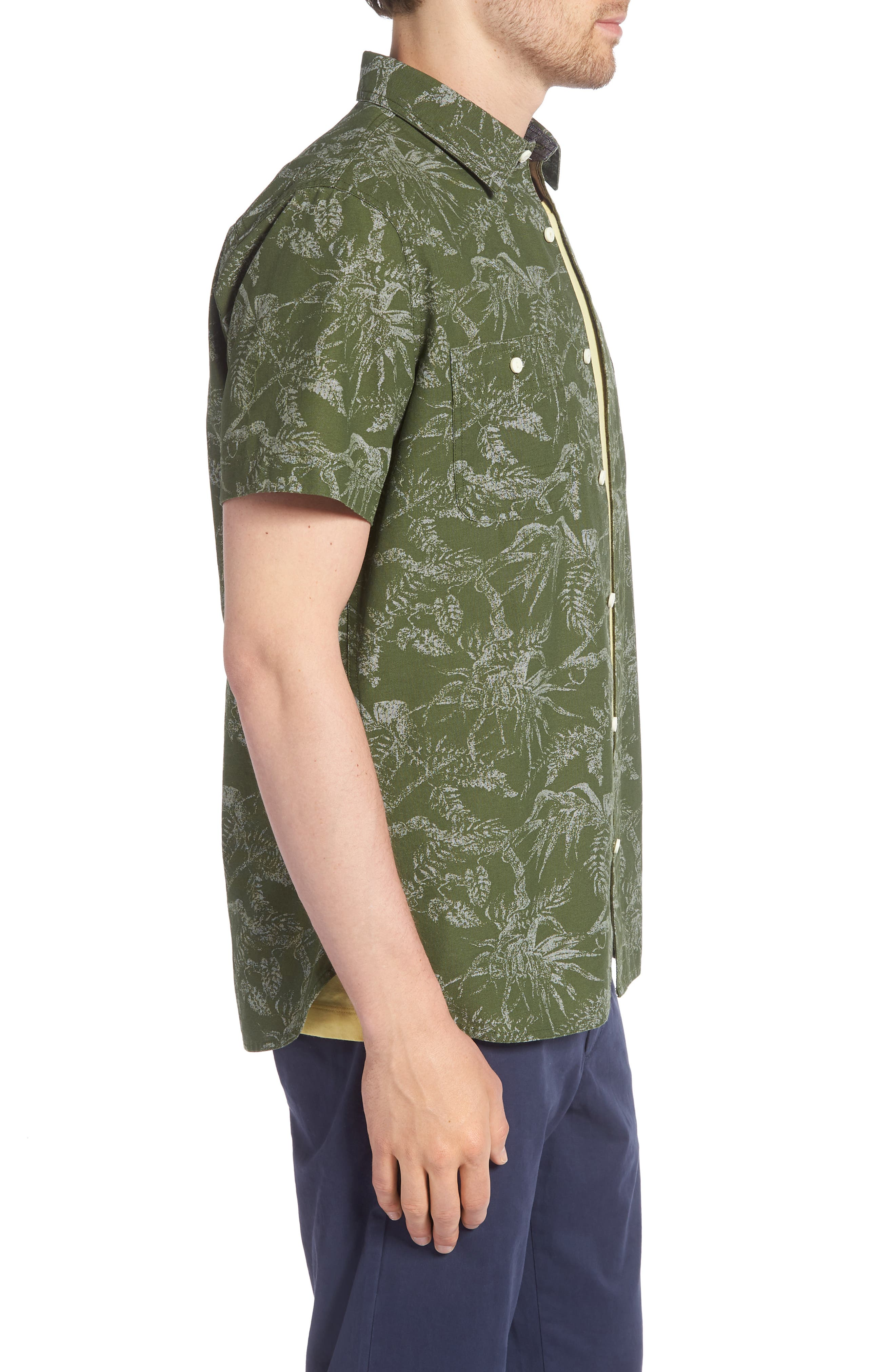 Workwear Trim Fit Leaf Print Sport Shirt,                             Alternate thumbnail 4, color,                             Green Hedge Chambray Palms