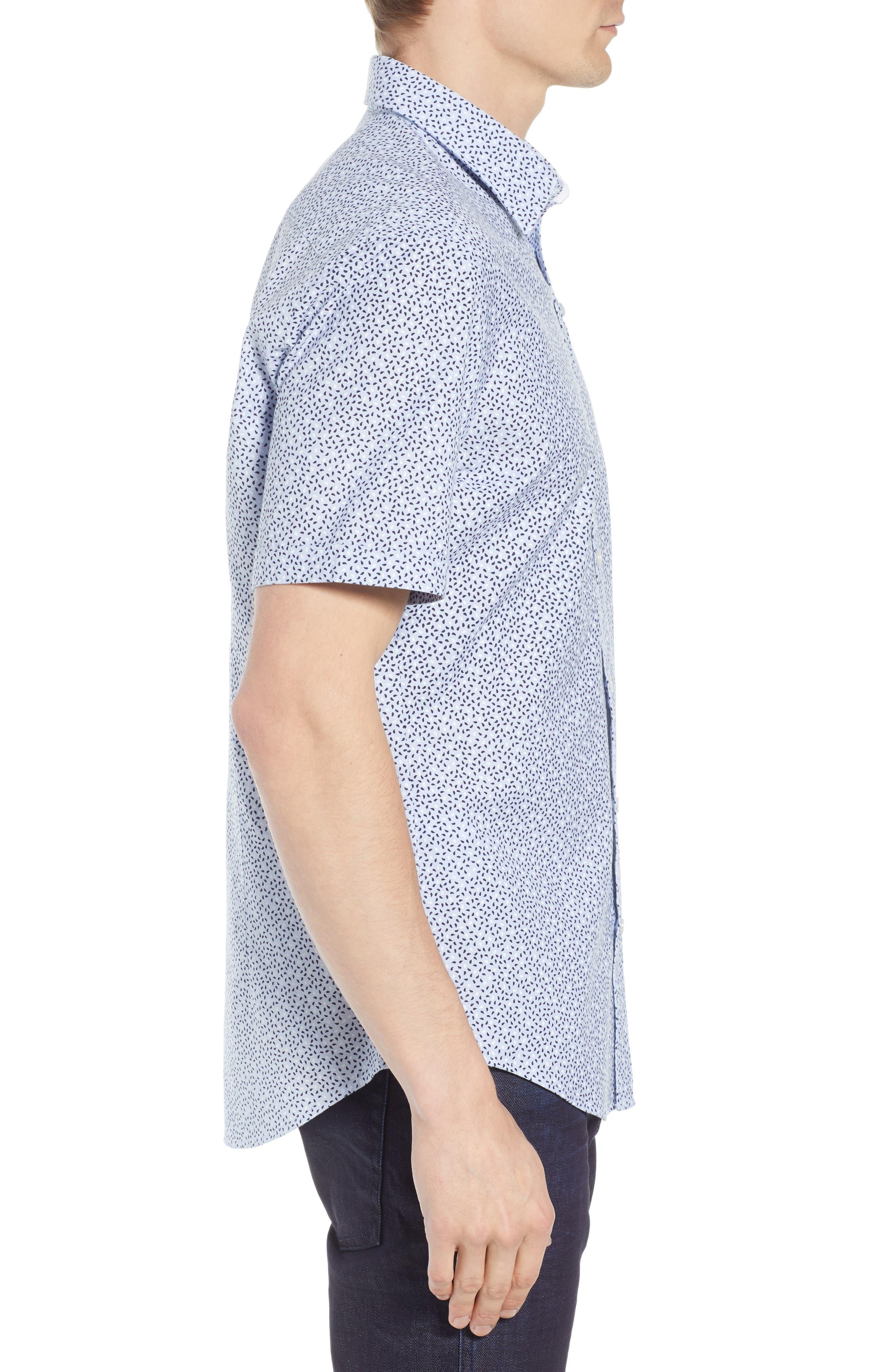 Robb Trim Fit Paisley Sport Shirt,                             Alternate thumbnail 4, color,                             Blue