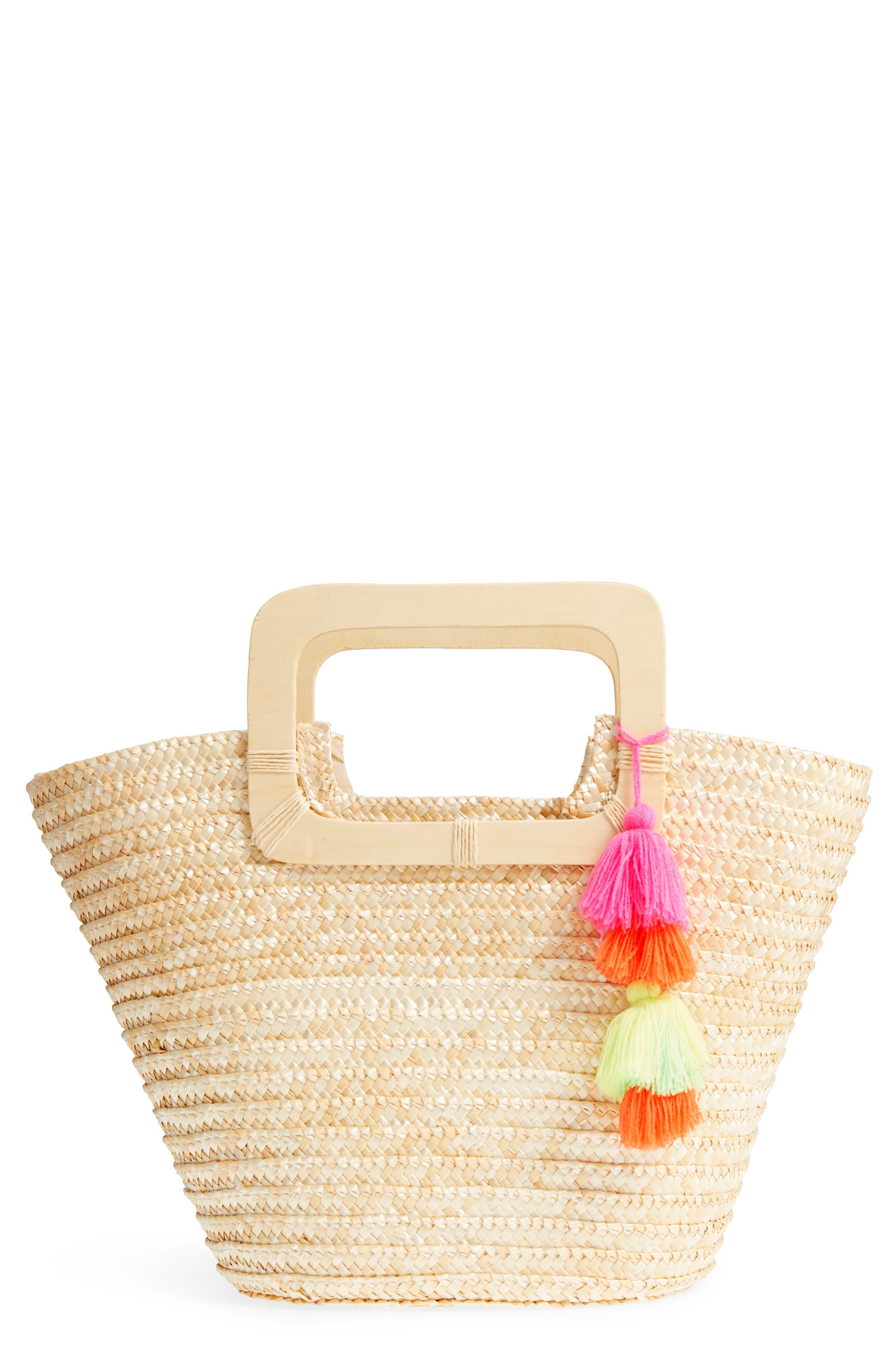 BP. Straw Ring Handle Basket Tote
