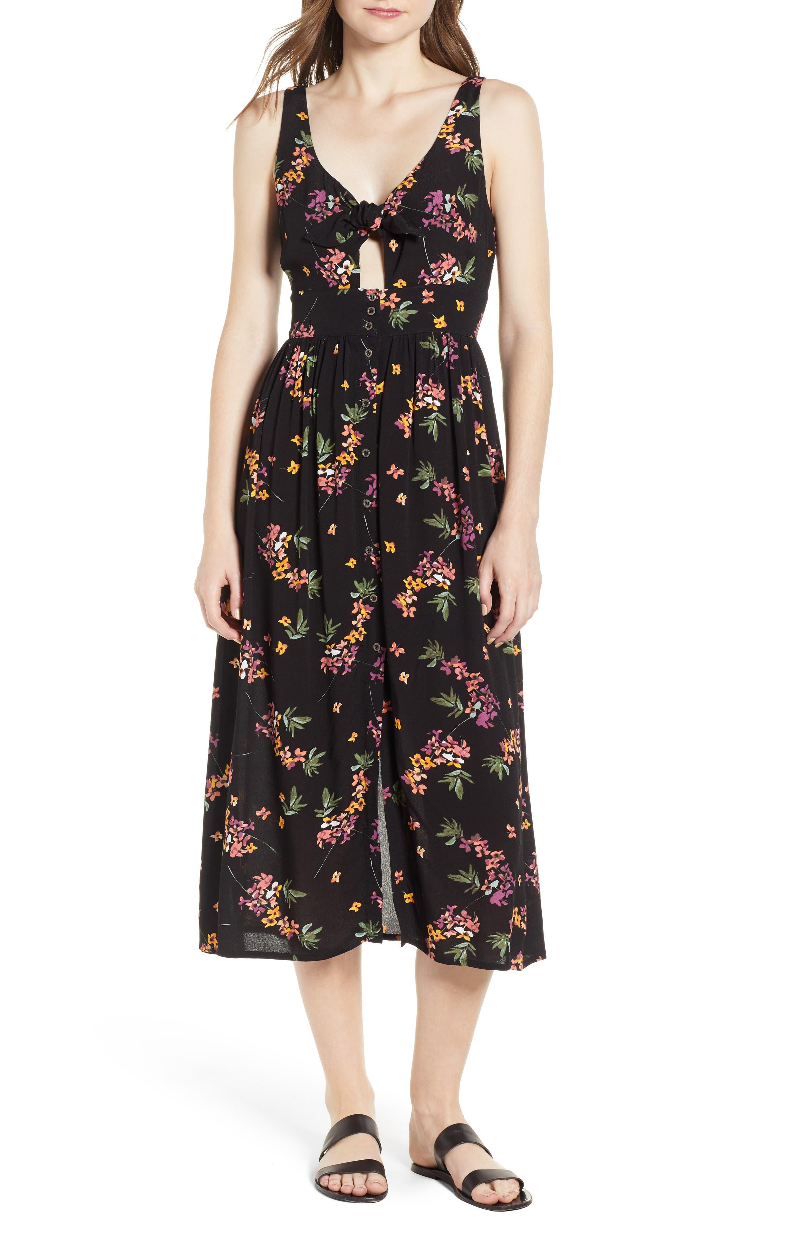Floral Midi Dress,                             Main thumbnail 1, color,                             Black Floral