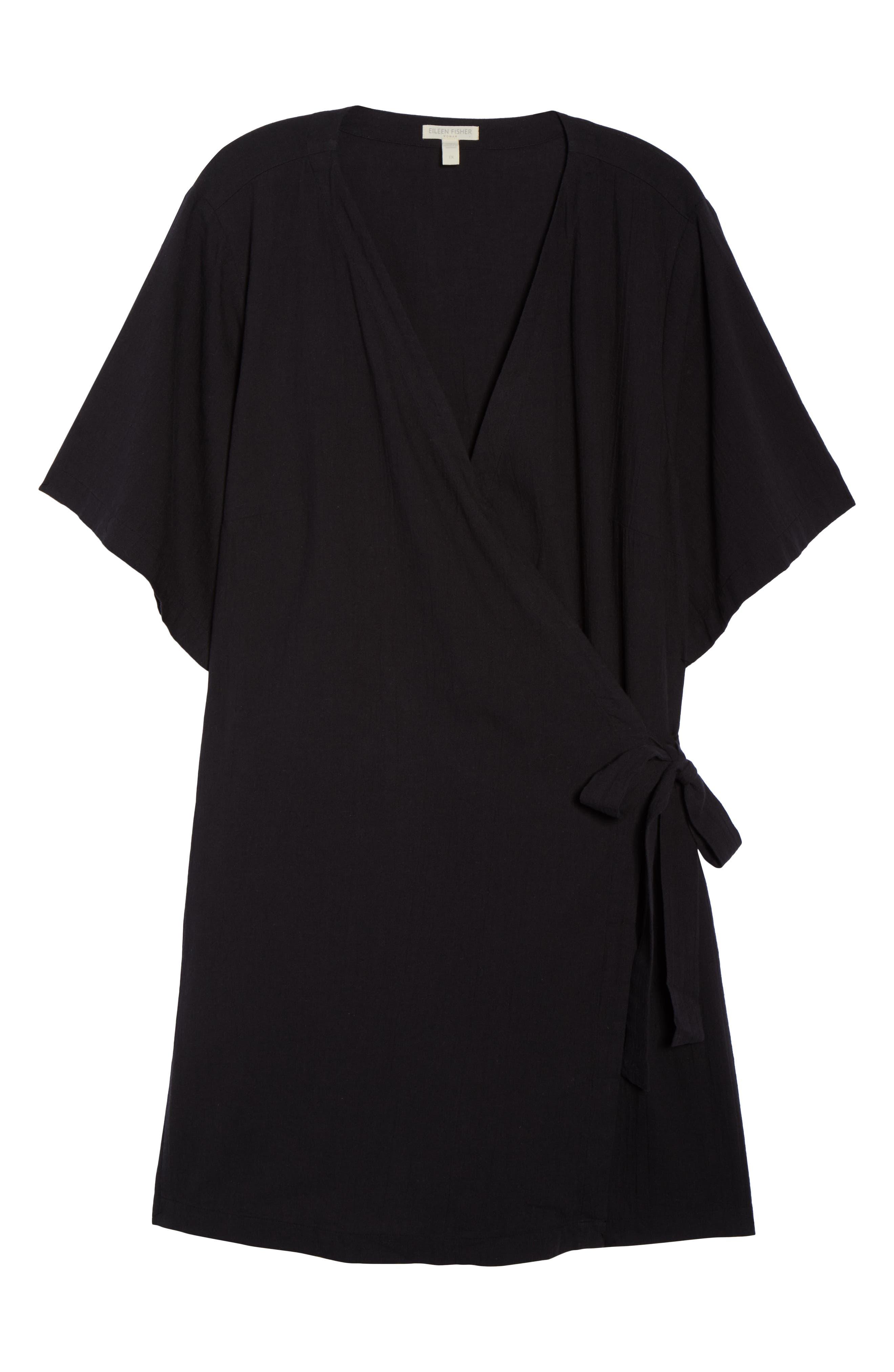 Organic Cotton Blend Kimono Jacket,                             Alternate thumbnail 7, color,                             Black