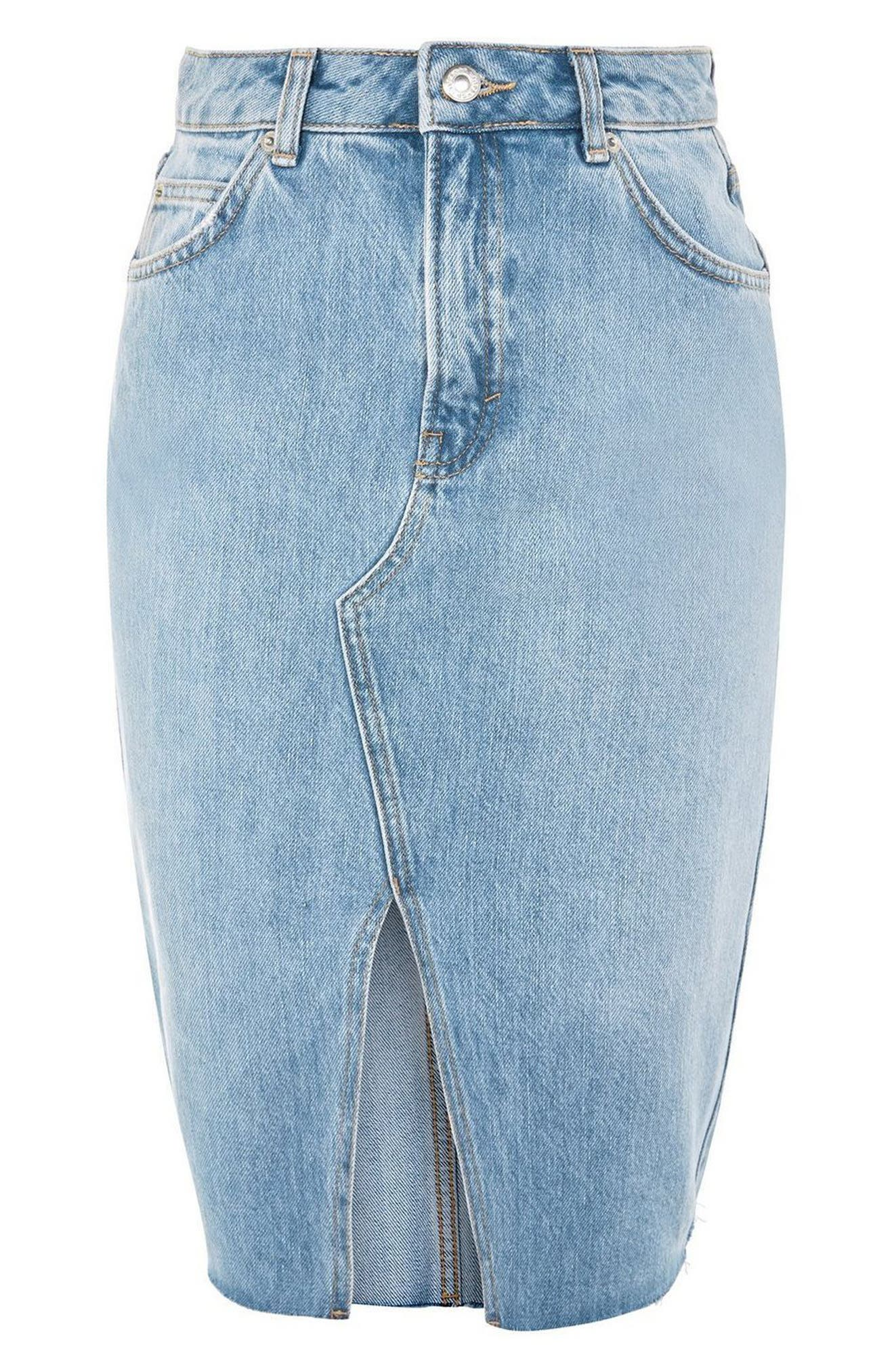 Denim Midi Skirt,                             Alternate thumbnail 3, color,                             Mid Denim