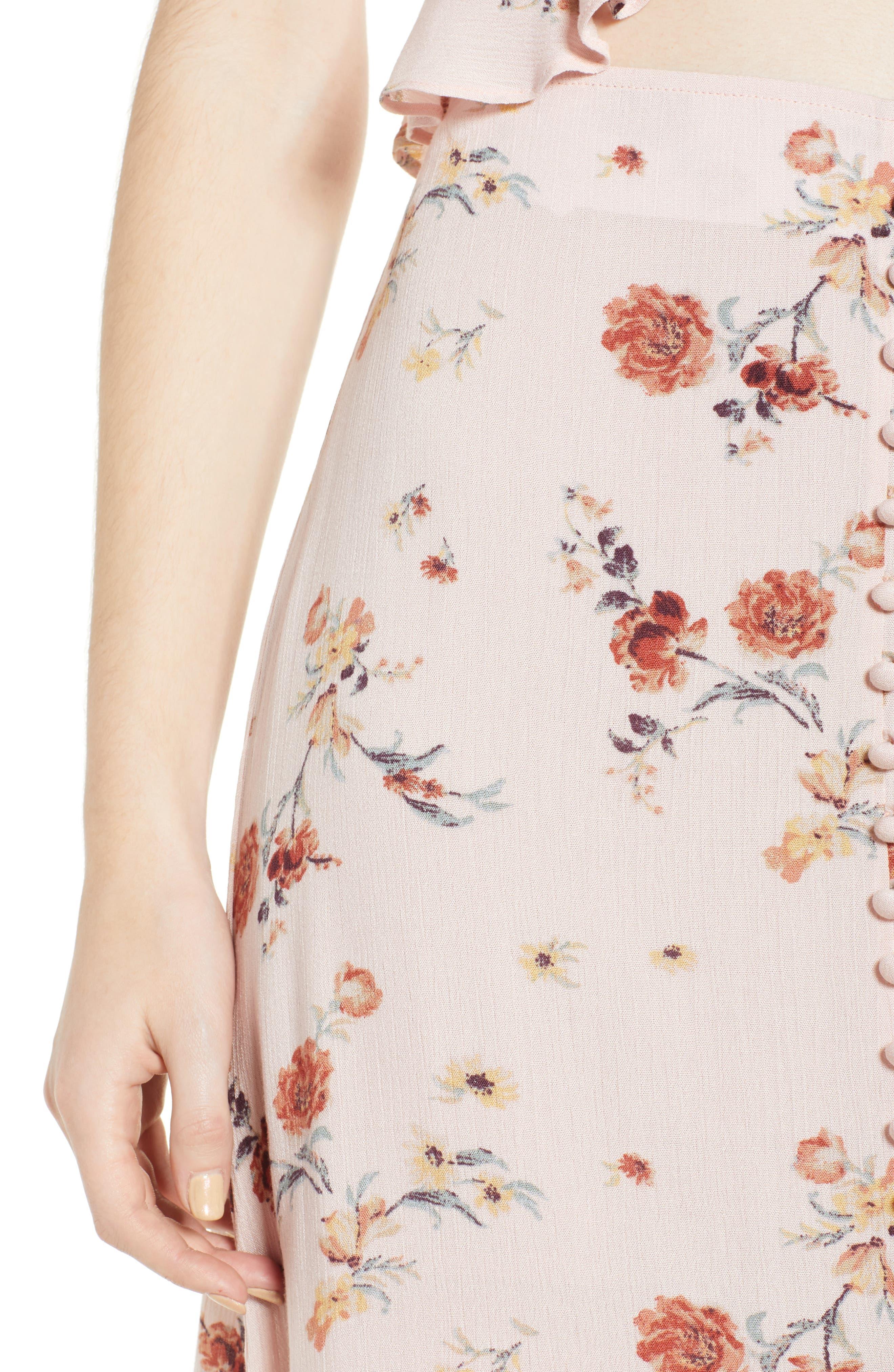 Rosa Floral Maxi Skirt,                             Alternate thumbnail 5, color,                             Pink Floral