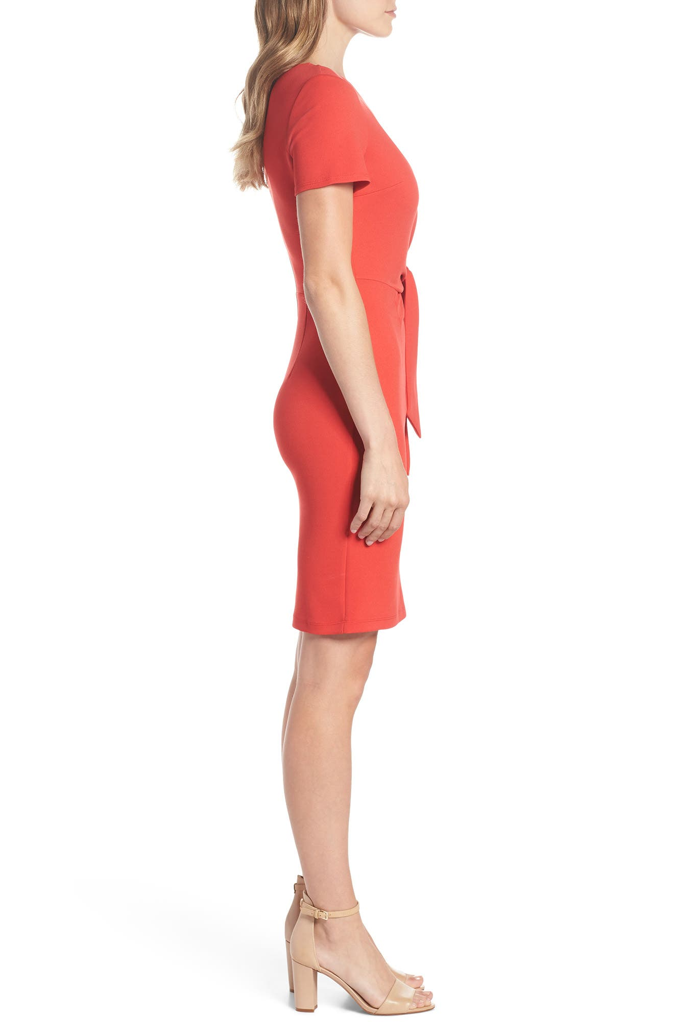 Tie Front Sheath Dress,                             Alternate thumbnail 3, color,                             Coral