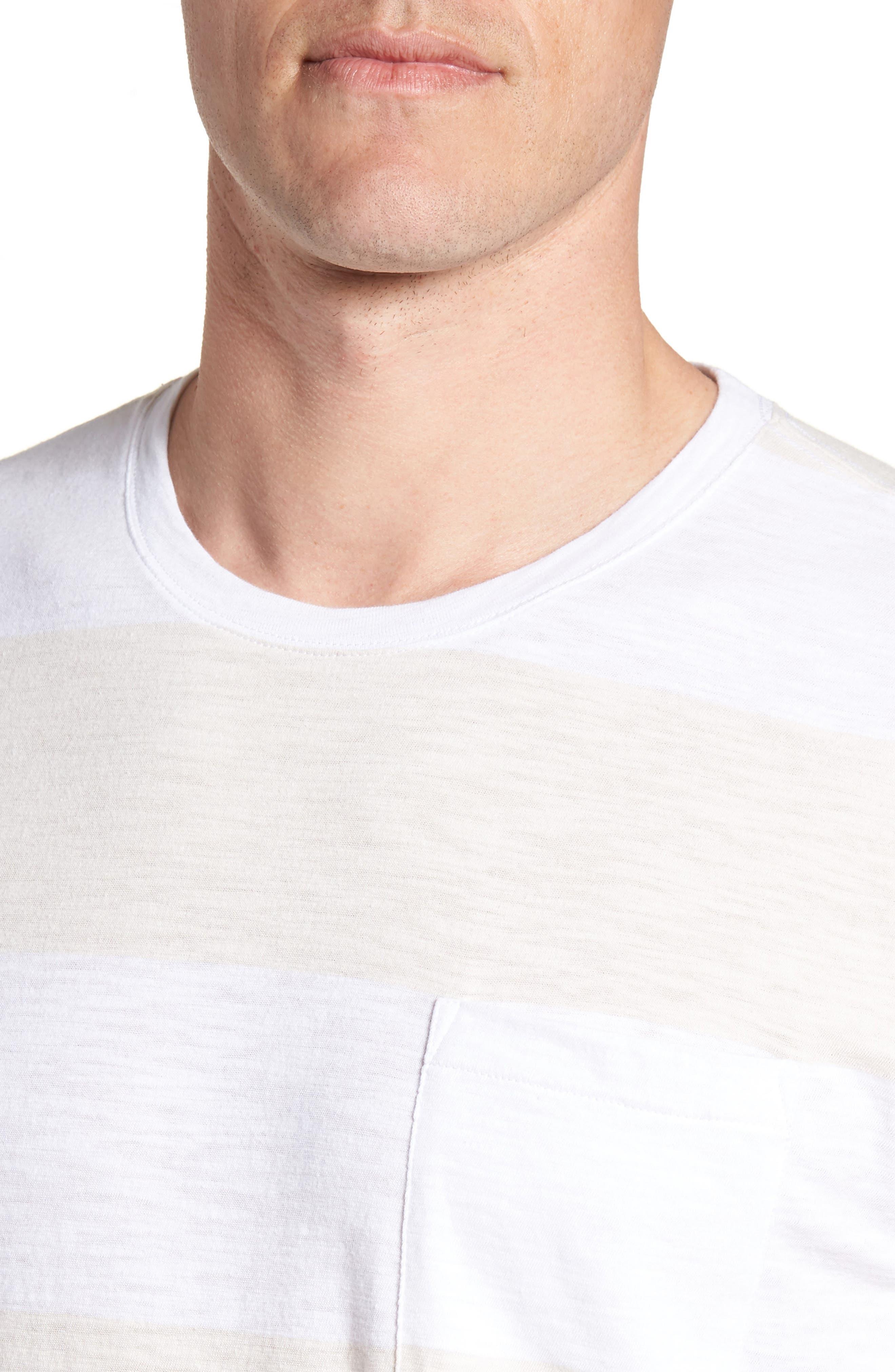 Block Stripe Slim Fit Pocket T-Shirt,                             Alternate thumbnail 4, color,                             White/ Seashell