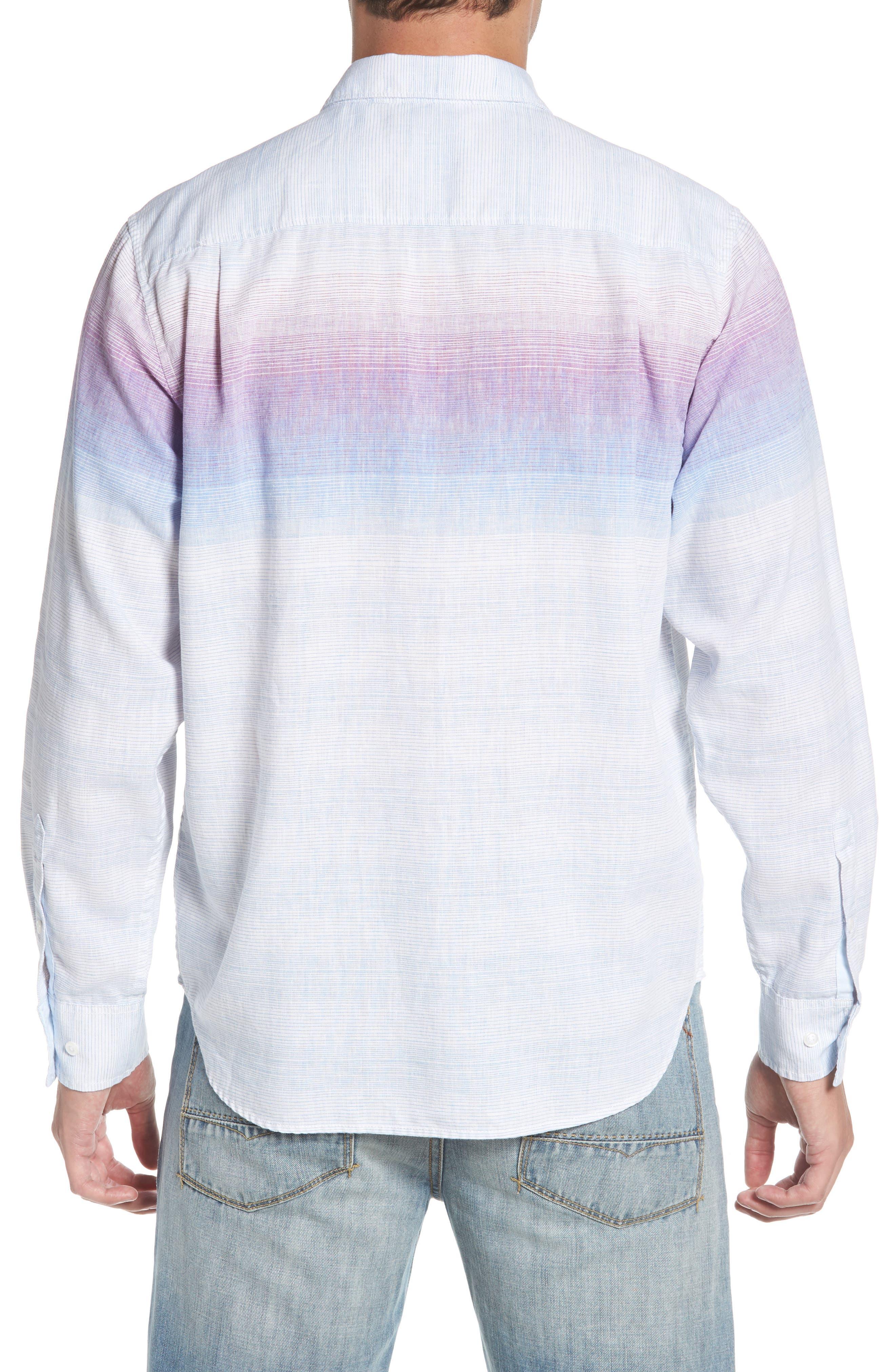 Sunset Ombré Linen Blend Sport Shirt,                             Alternate thumbnail 3, color,                             White