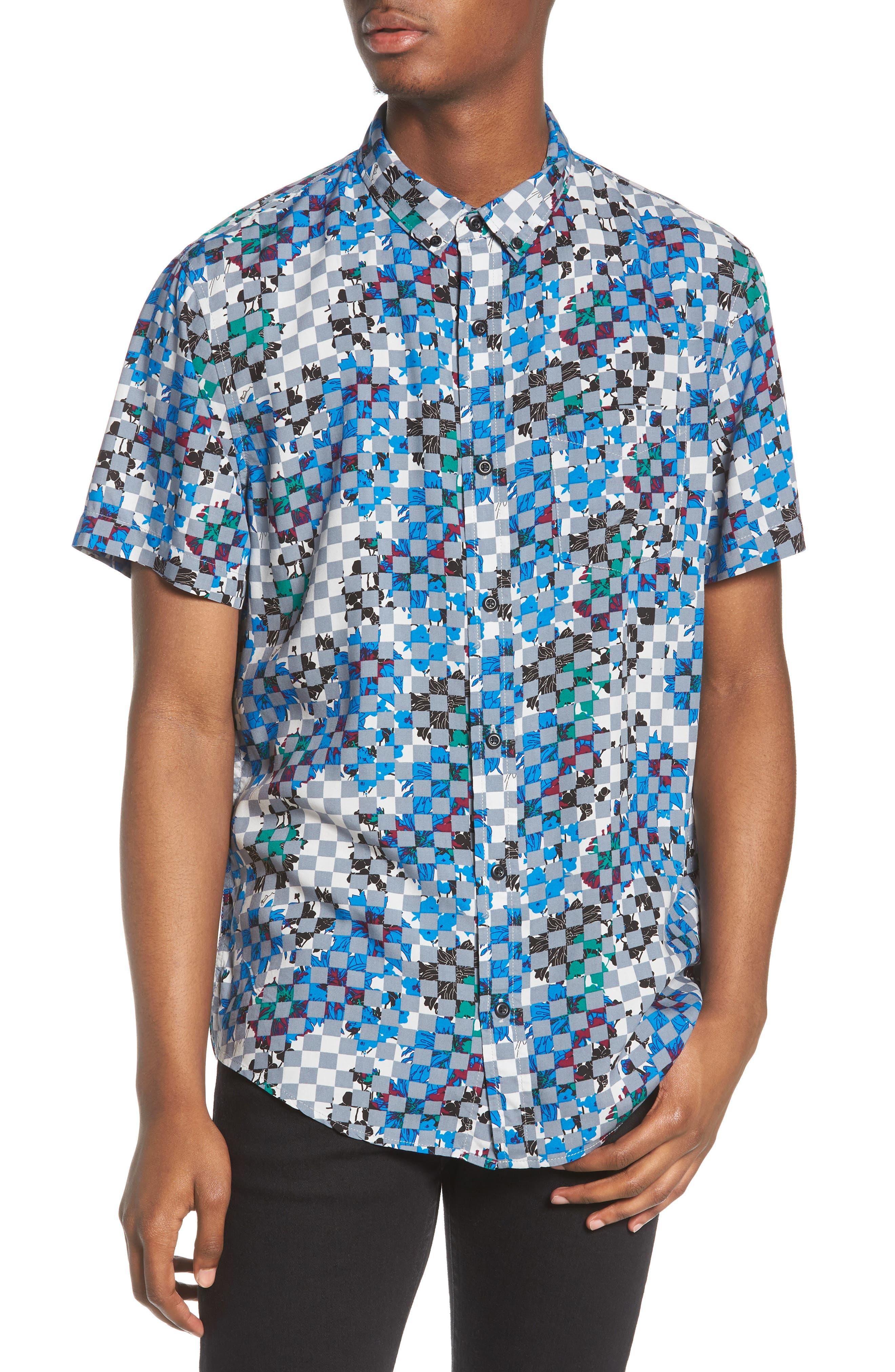 Woven Print Shirt,                             Main thumbnail 1, color,                             Grey Checker Board Floral