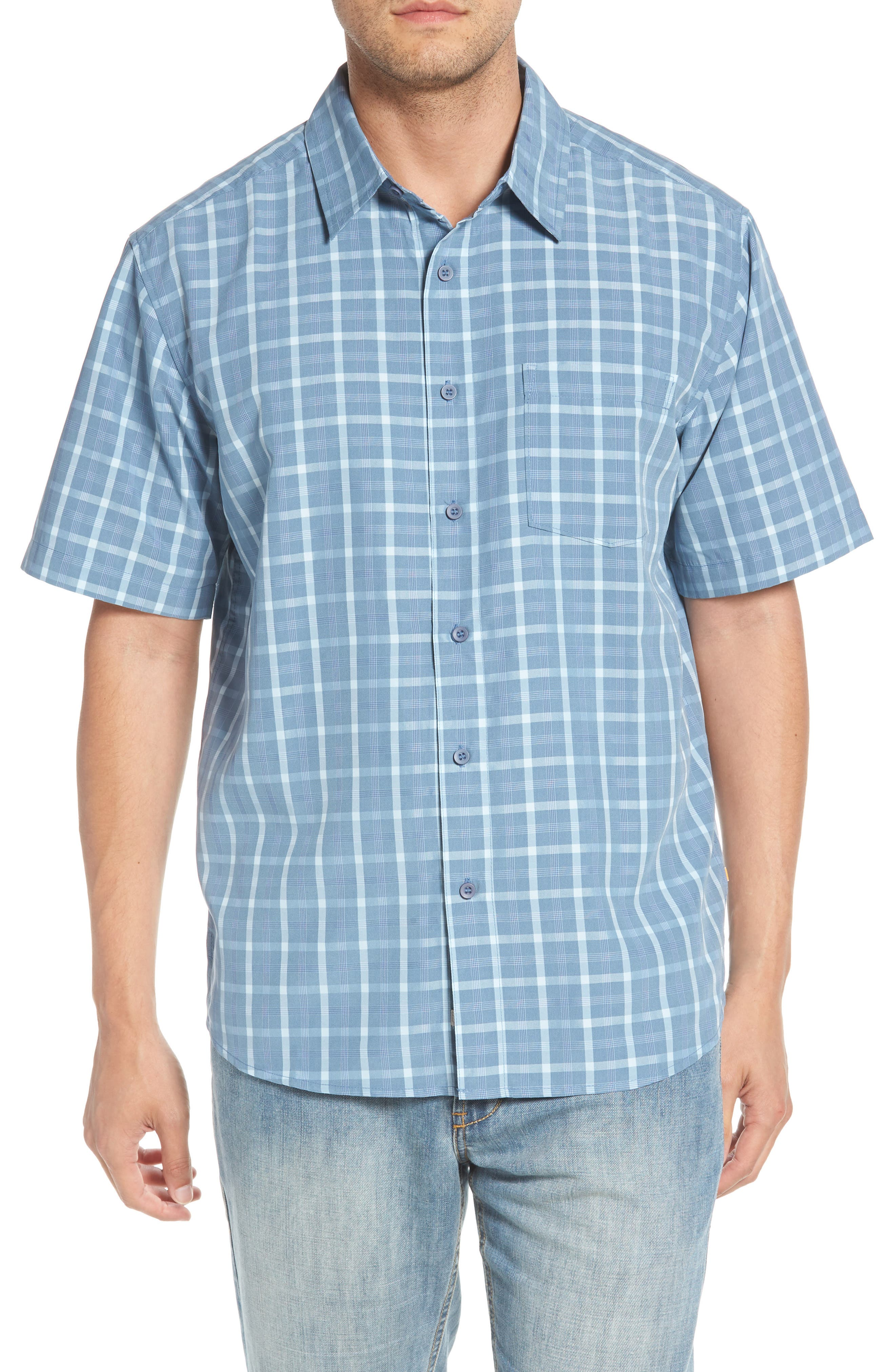 Checked Light Classic Fit Sport Shirt,                             Main thumbnail 1, color,                             Blue Shadow