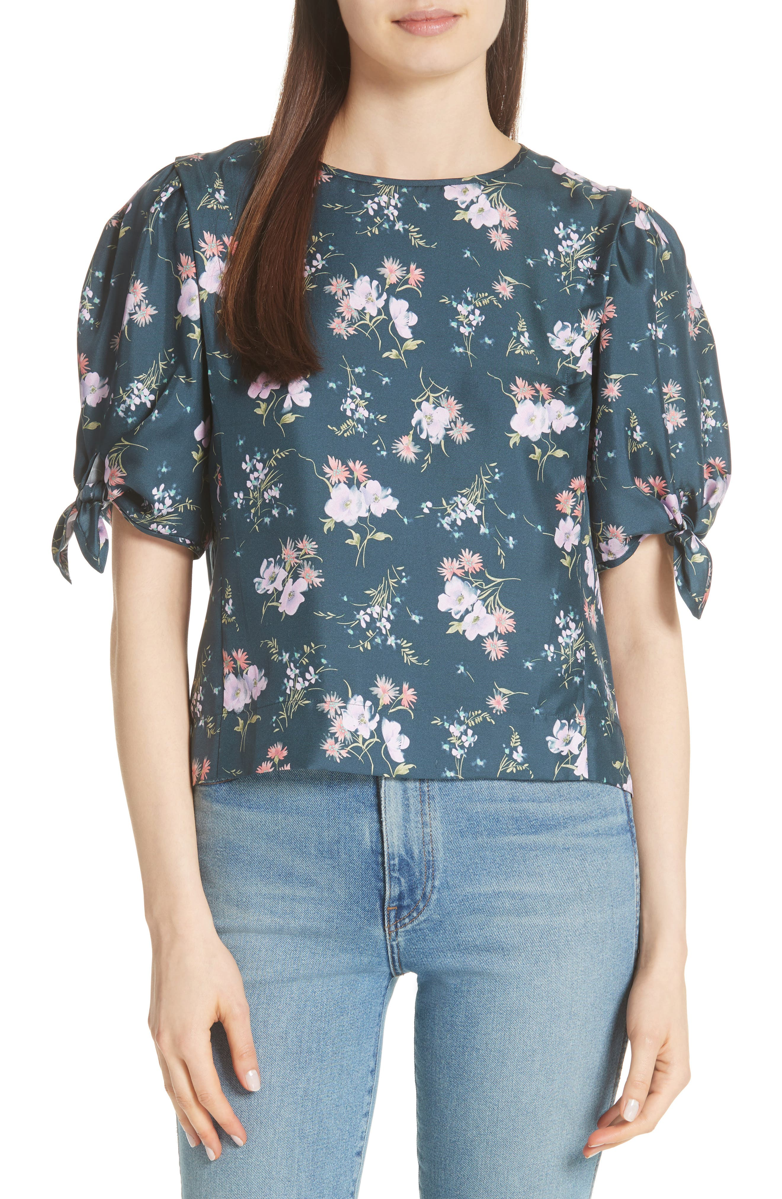 Emilia Tie Sleeve Floral Top,                             Main thumbnail 1, color,                             Teal Combo