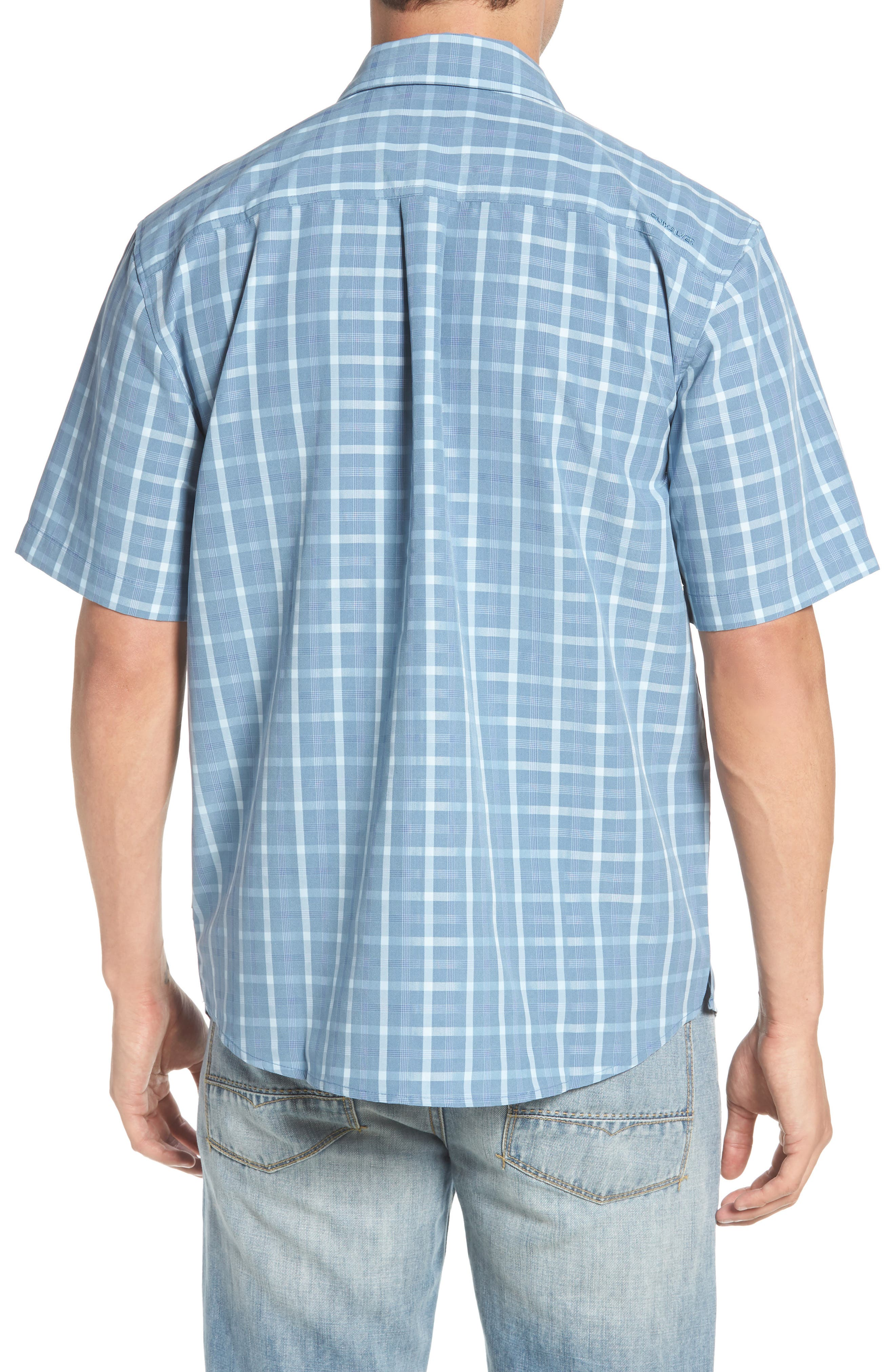 Checked Light Classic Fit Sport Shirt,                             Alternate thumbnail 5, color,                             Blue Shadow