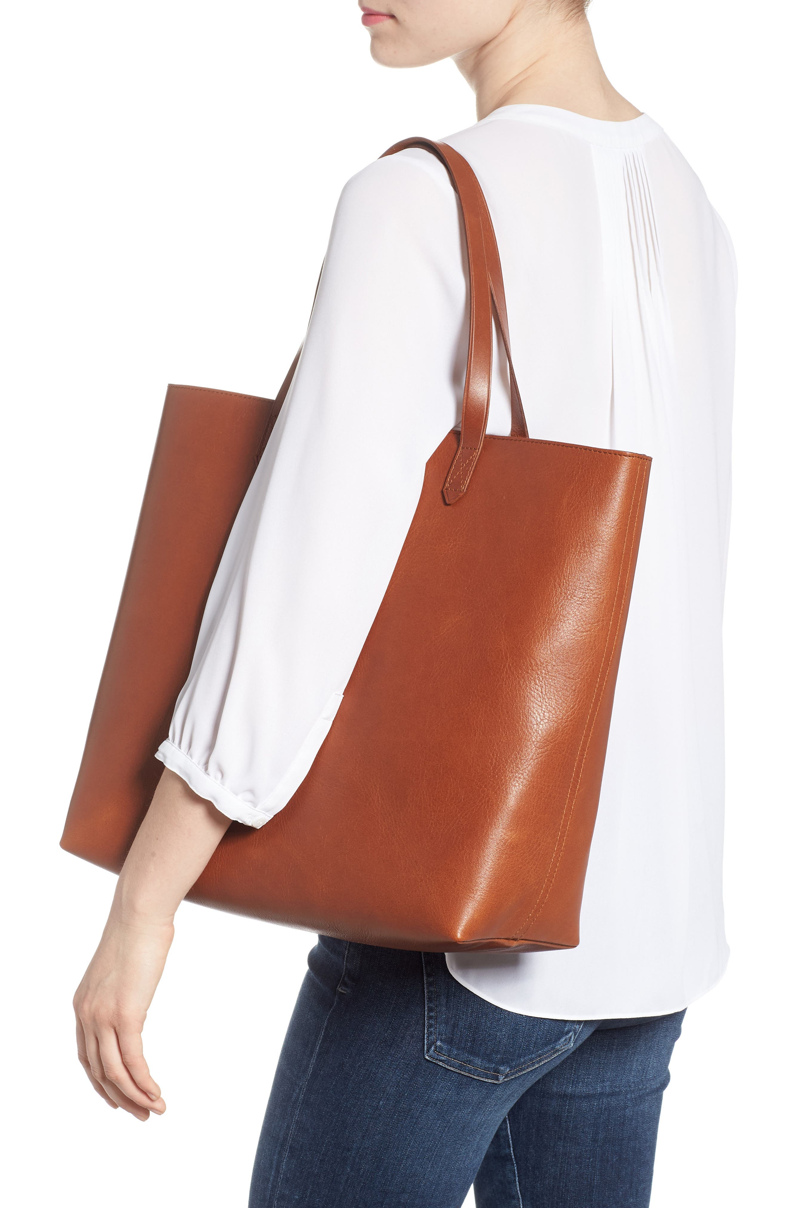 Zip Top Transport Leather Tote,                             Alternate thumbnail 2, color,                             English Saddle
