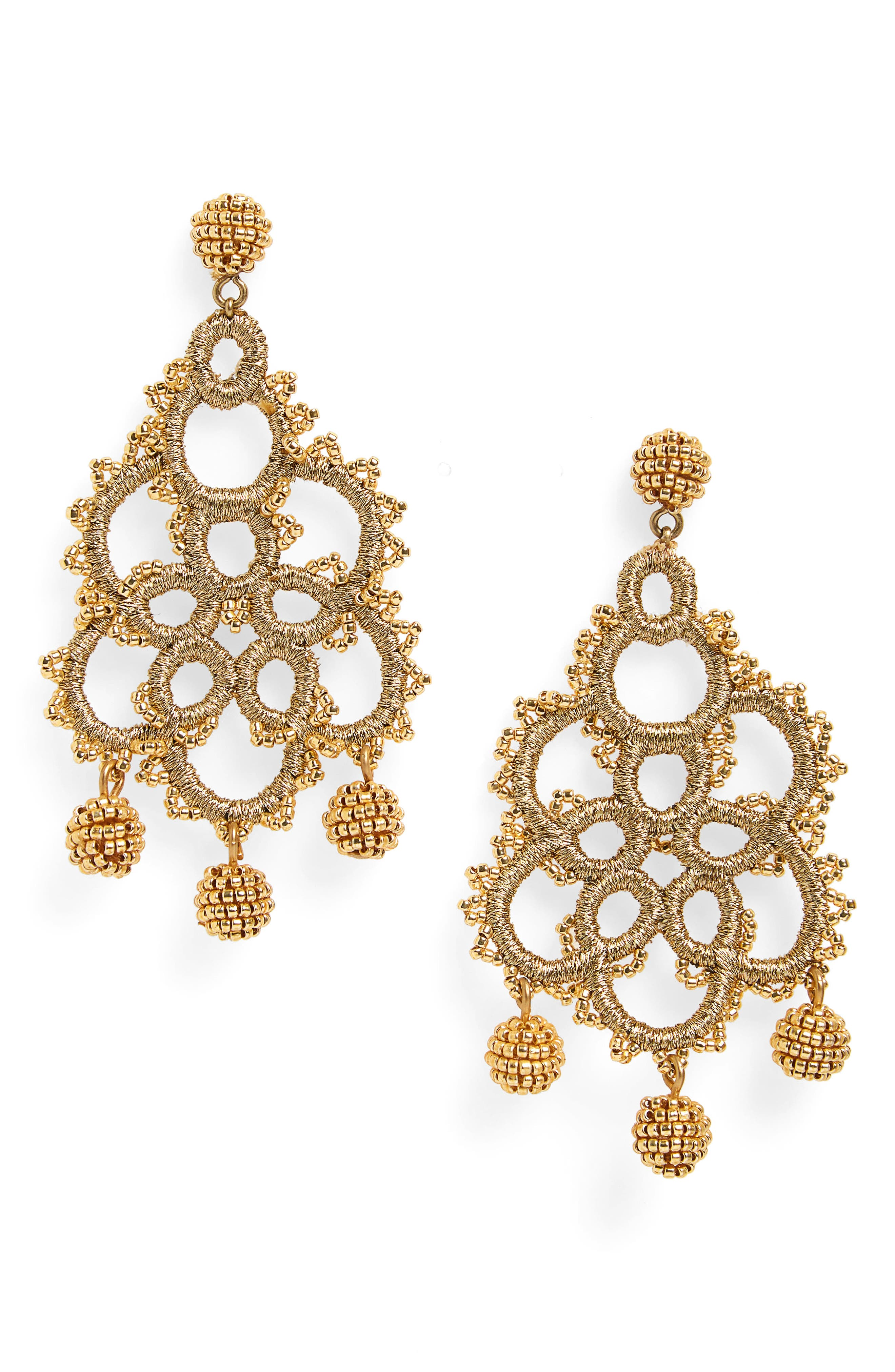 Bead & Embroidery Earrings,                             Main thumbnail 1, color,                             Rich Gold