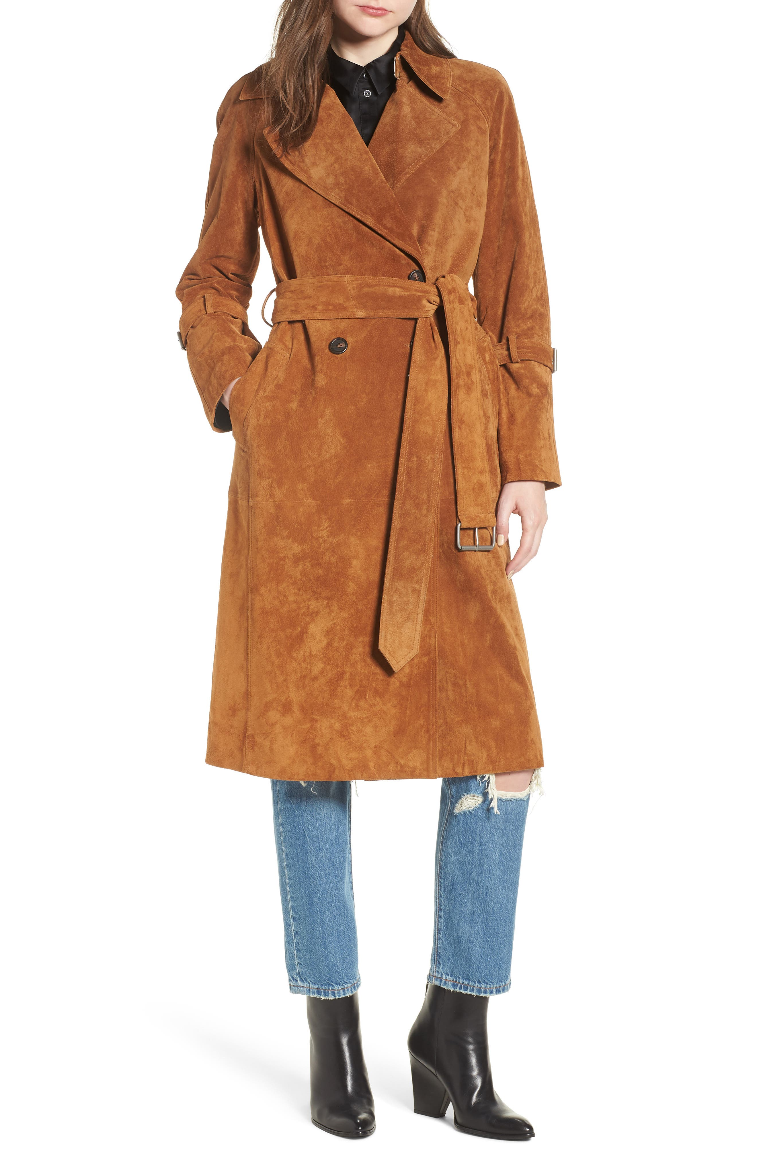 Genuine Suede Trench Coat,                             Main thumbnail 1, color,                             Brandy