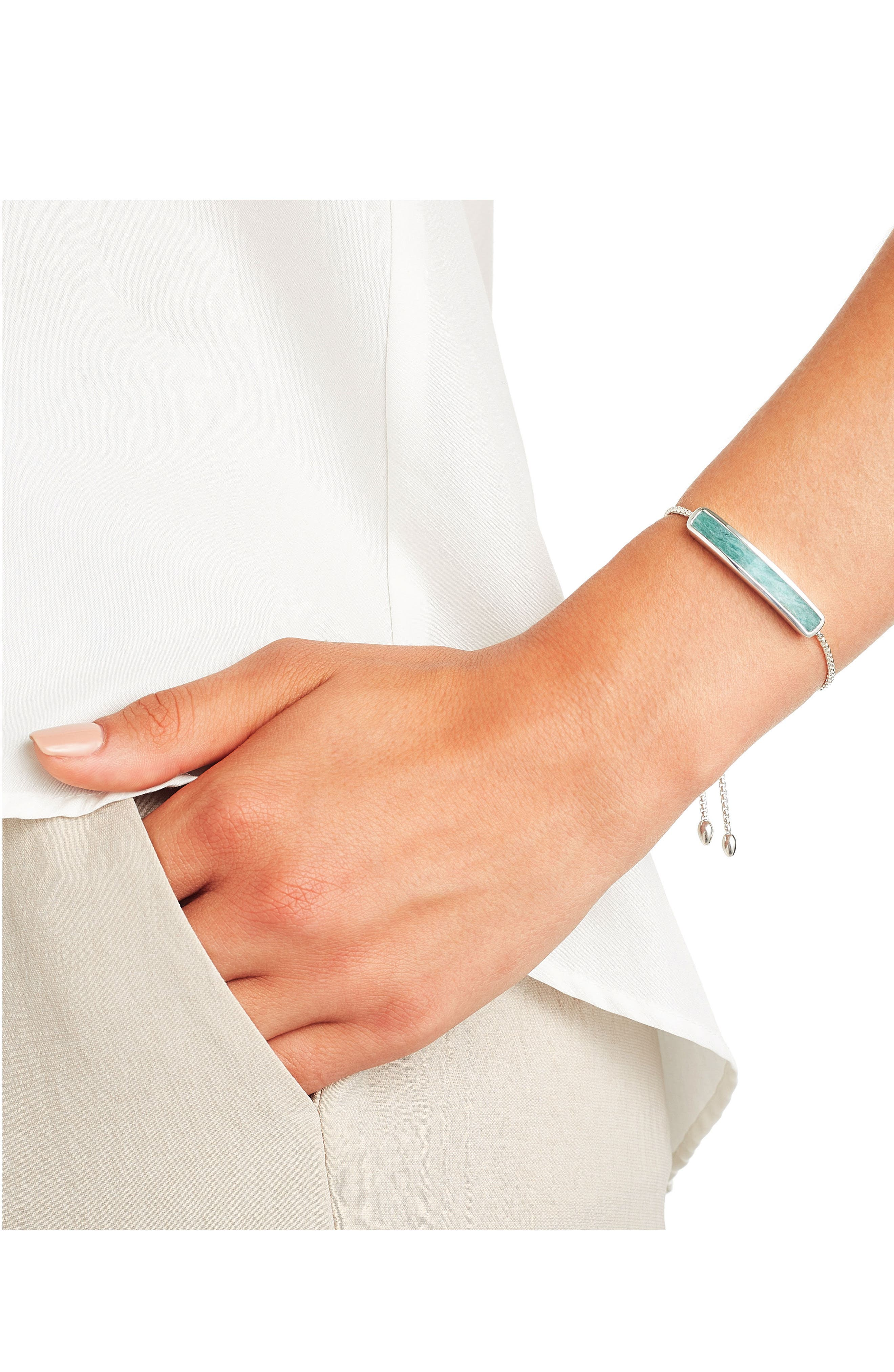 Baja Sterling Stone Bracelet,                             Alternate thumbnail 2, color,                             Silver/ Amazonite
