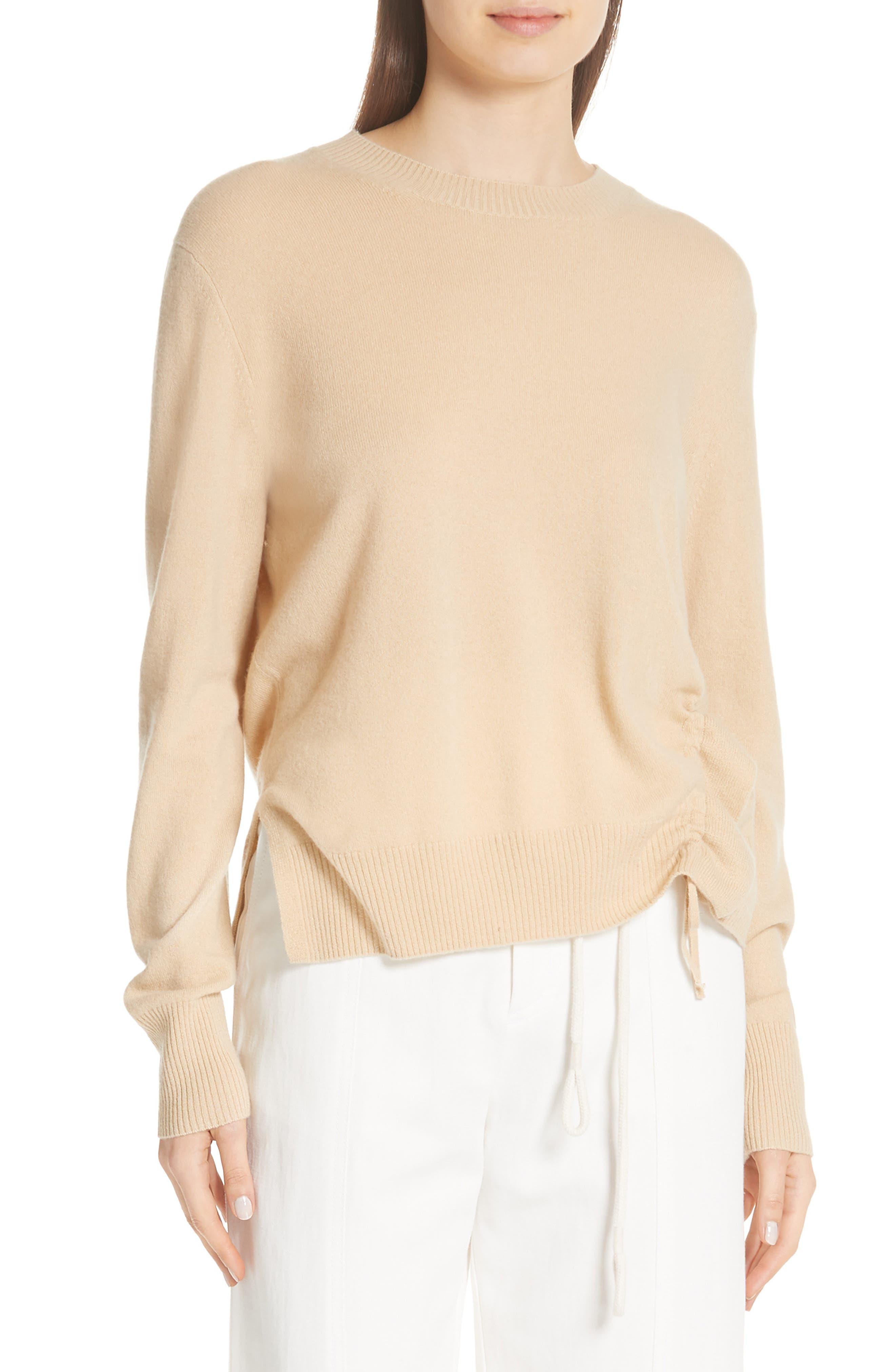 Side Cinch Cashmere Crewneck Sweater,                         Main,                         color, Sawdust