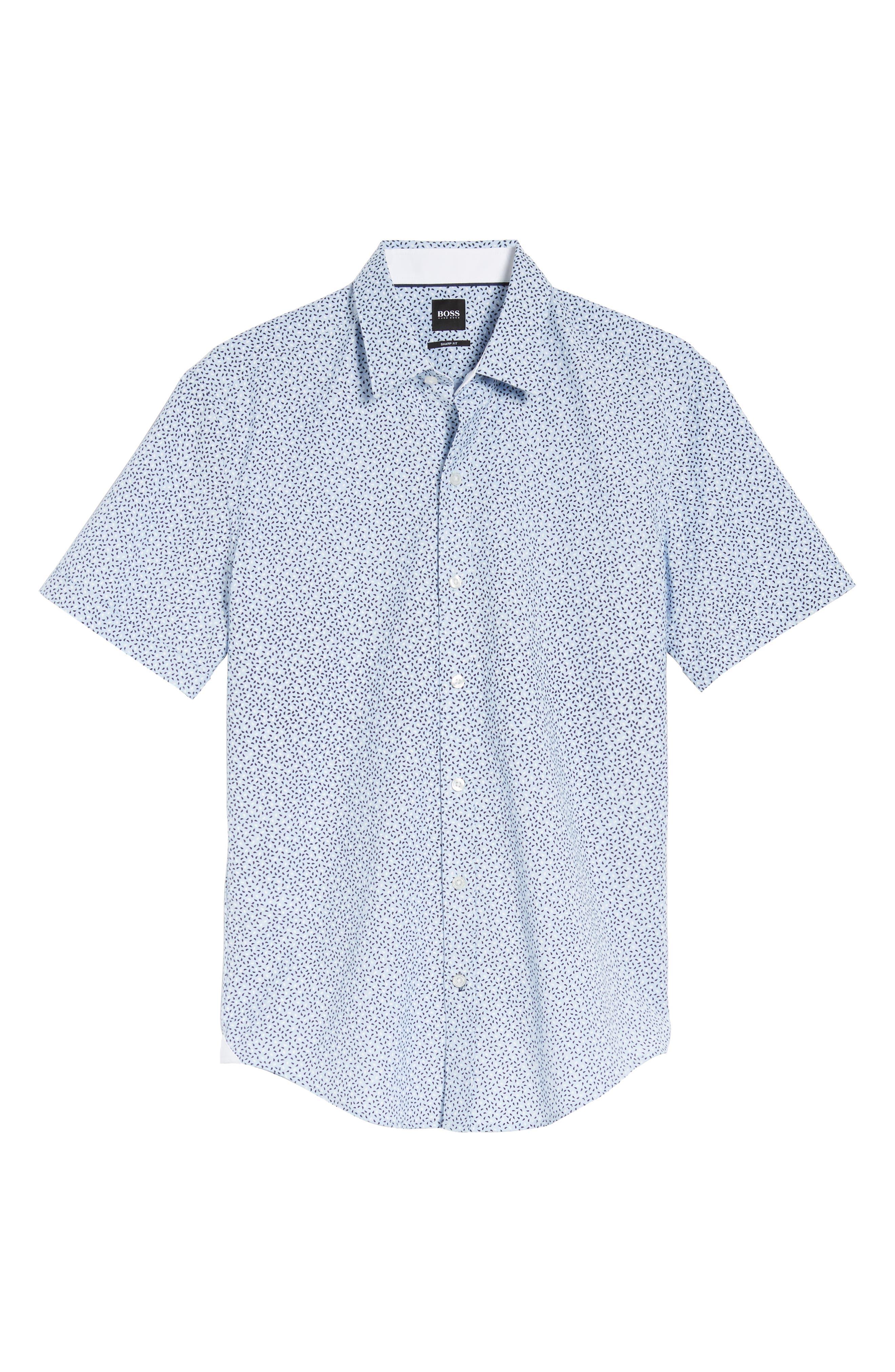 Robb Trim Fit Paisley Sport Shirt,                             Alternate thumbnail 6, color,                             Blue