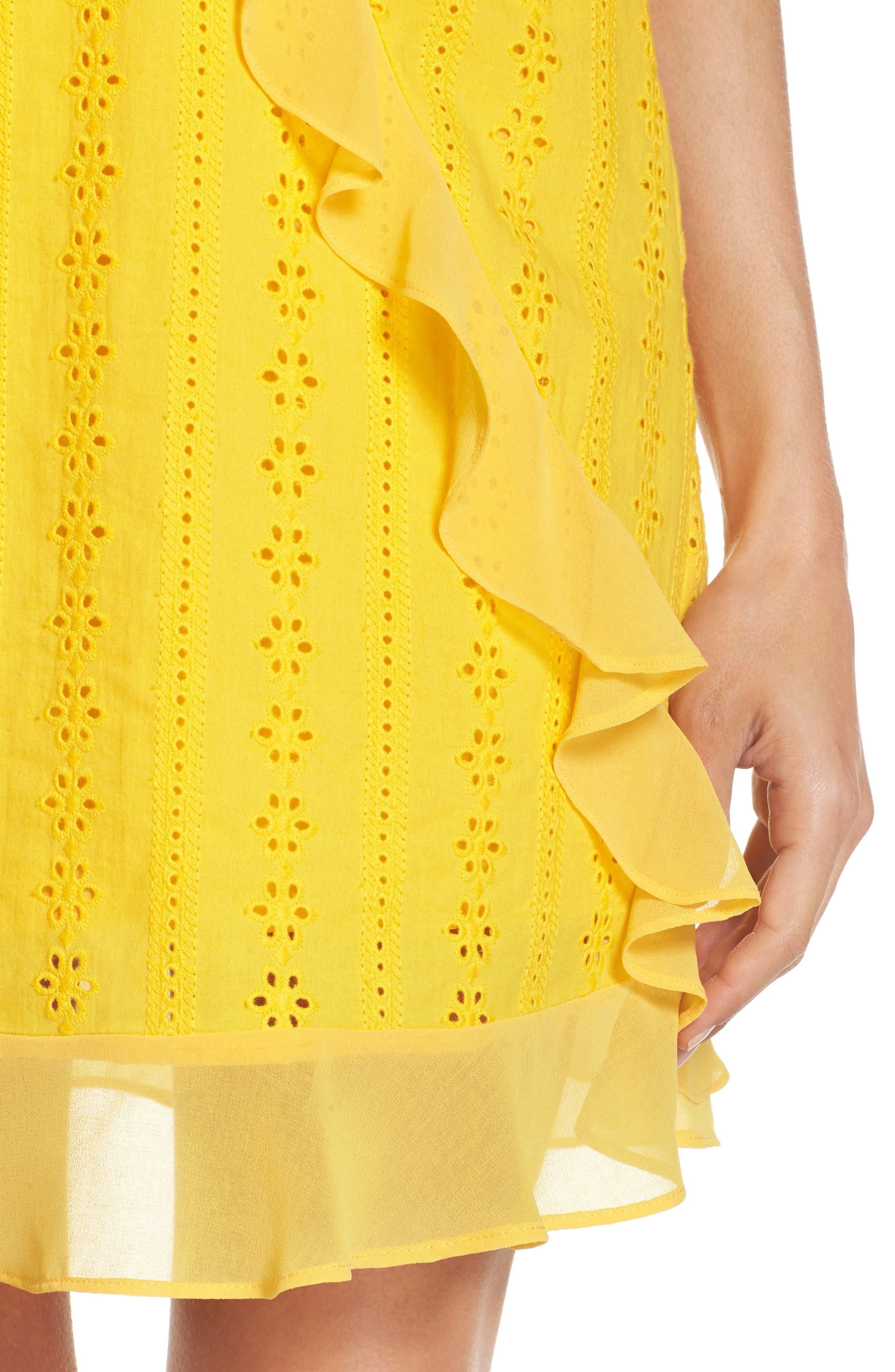 Jessa Ruffle Eyelet Fit & Flare Dress,                             Alternate thumbnail 4, color,                             Lemonade