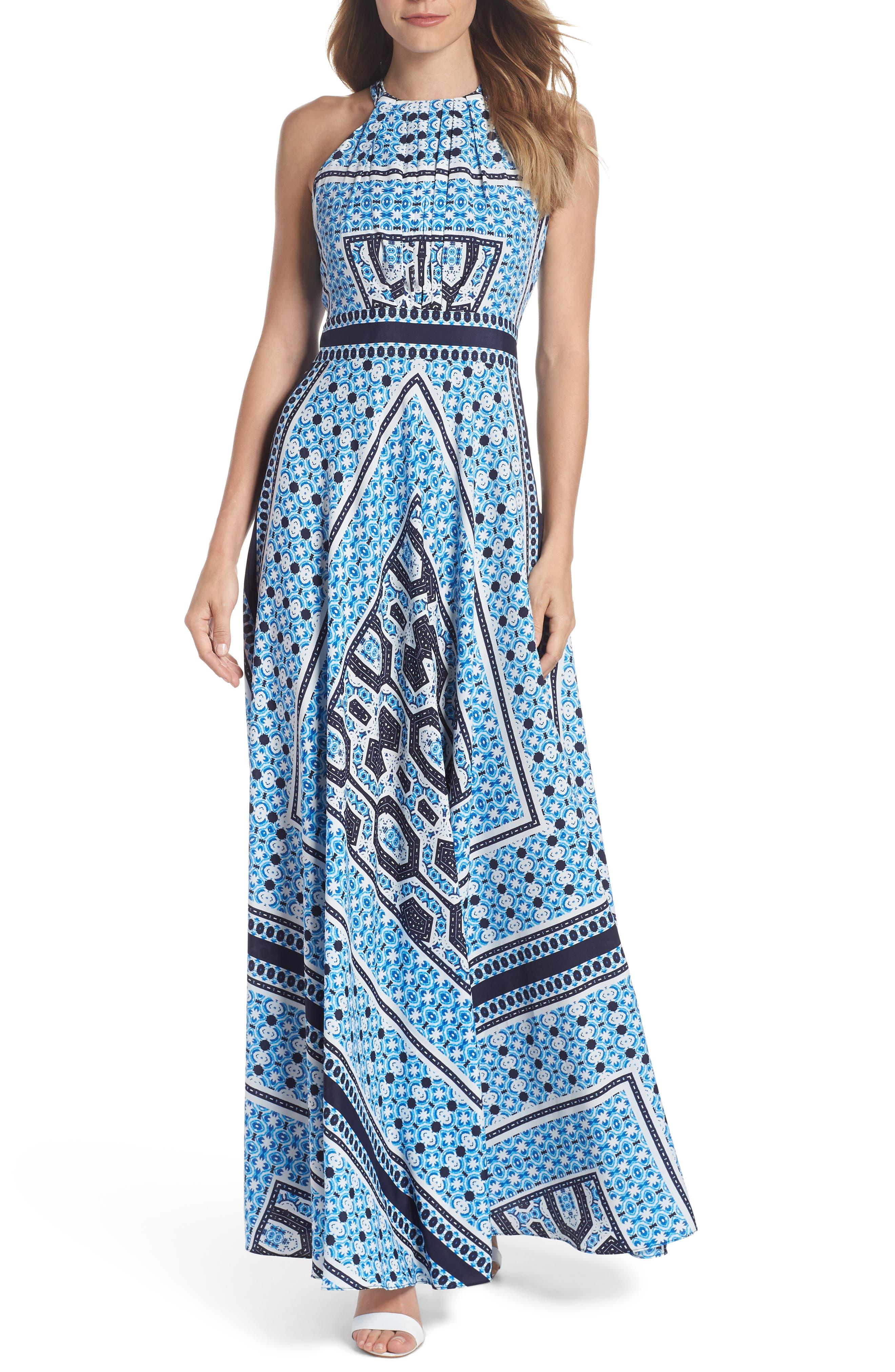 Scarf Print Halter Neck Maxi Dress,                             Main thumbnail 1, color,                             Blue