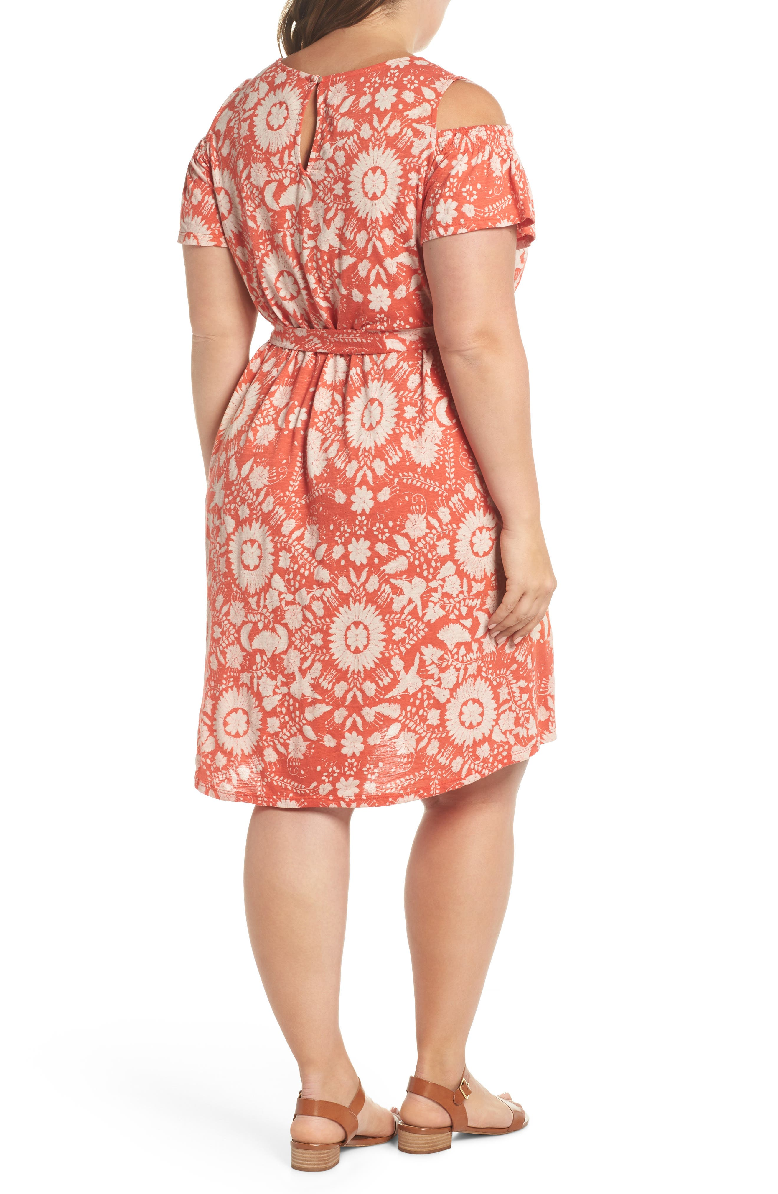 Cold Shoulder Print Belted Dress,                             Alternate thumbnail 2, color,                             Rust Multi