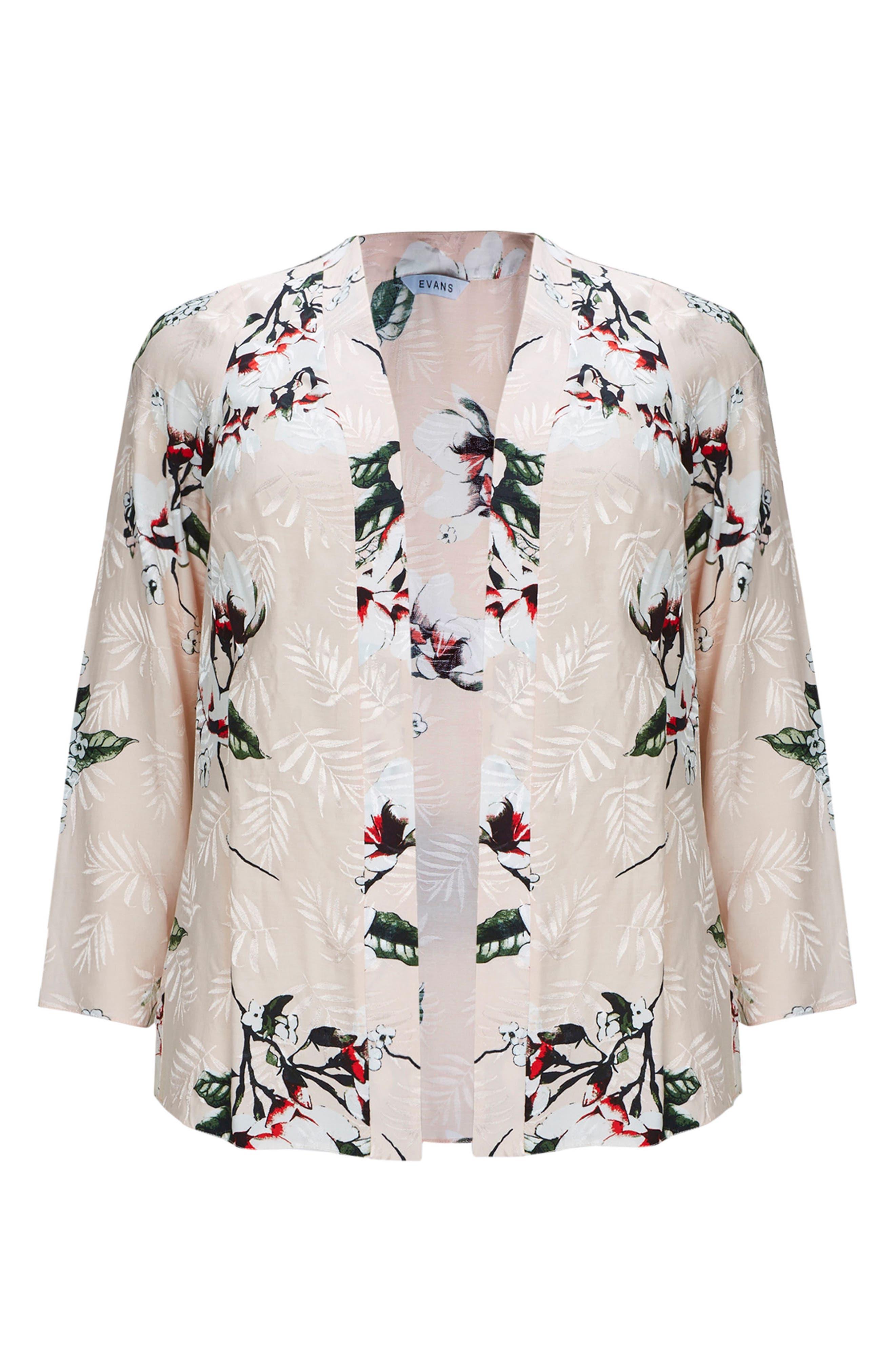 Blush Floral Kimono Jacket,                             Alternate thumbnail 3, color,                             Blush