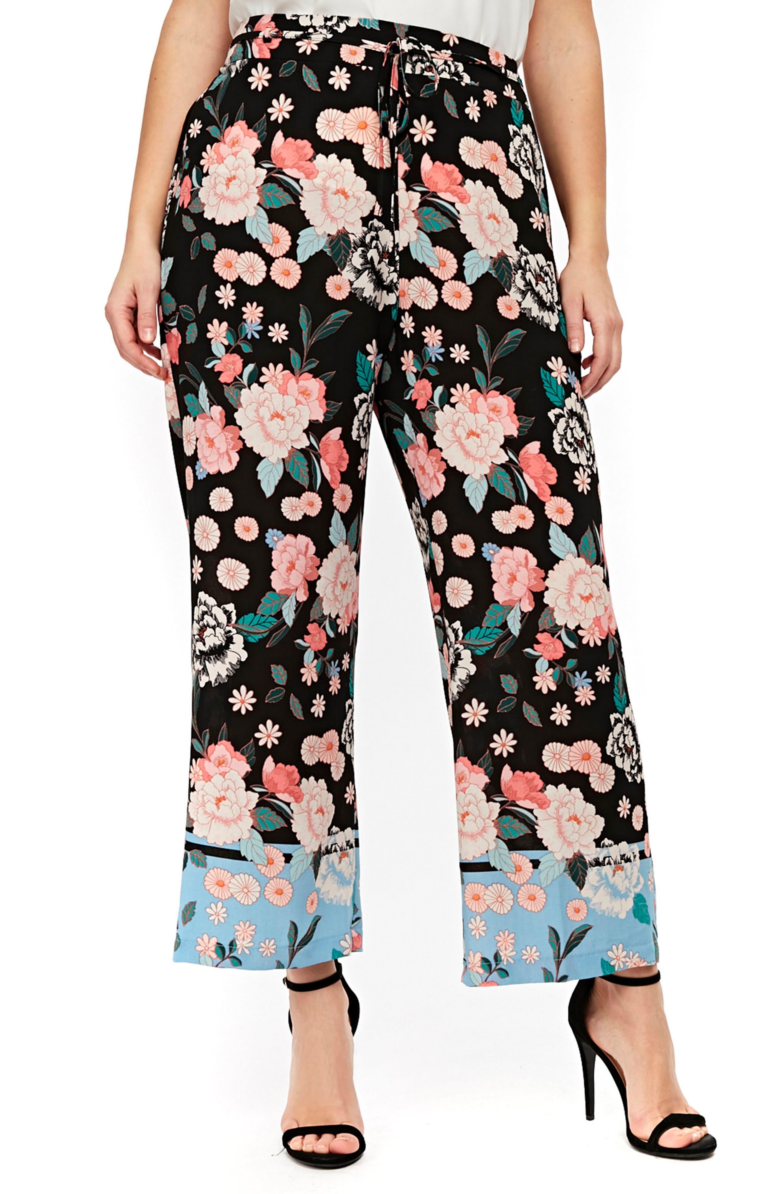 Border Floral Wide Leg Pants,                         Main,                         color, Black