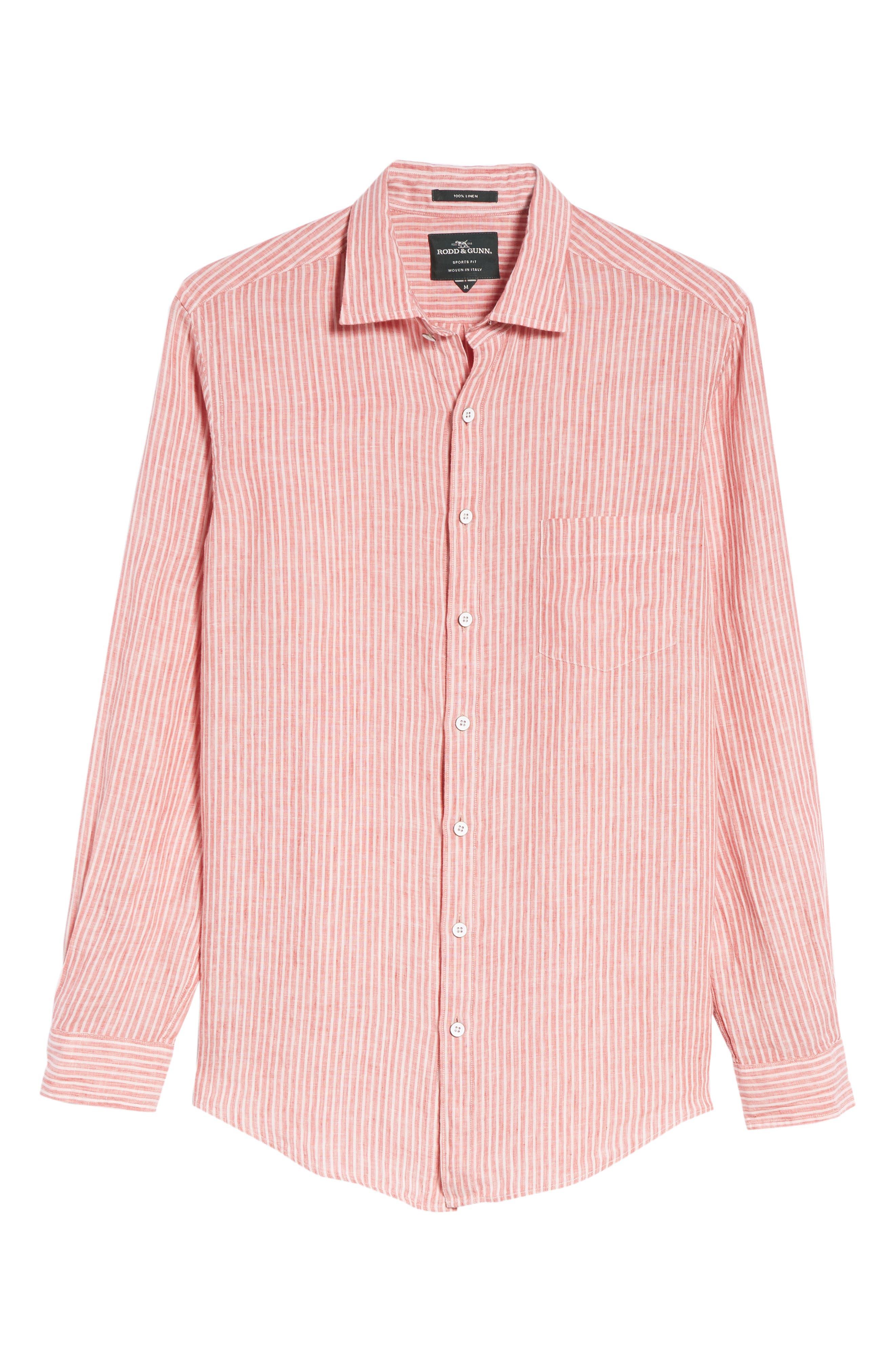 Warwick Junction Stripe Linen Sport Shirt,                             Alternate thumbnail 6, color,                             Coral