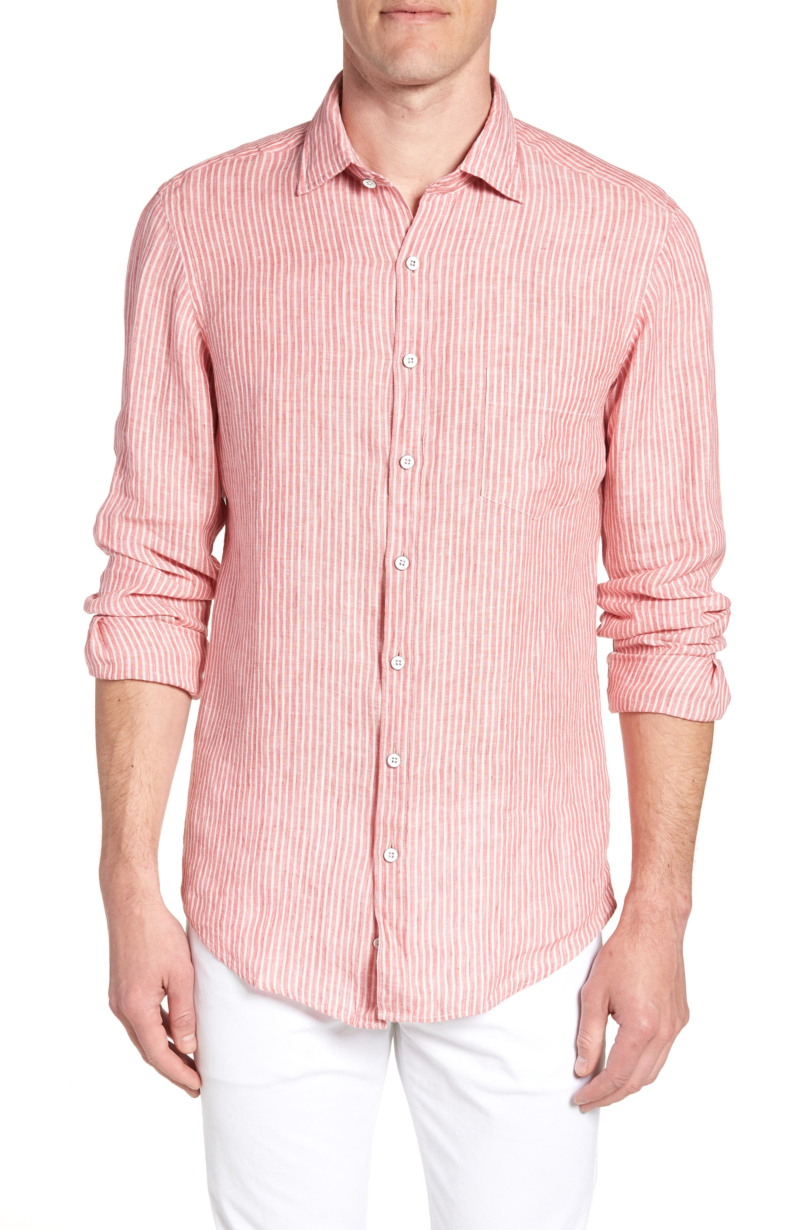Warwick Junction Stripe Linen Sport Shirt,                         Main,                         color, Coral