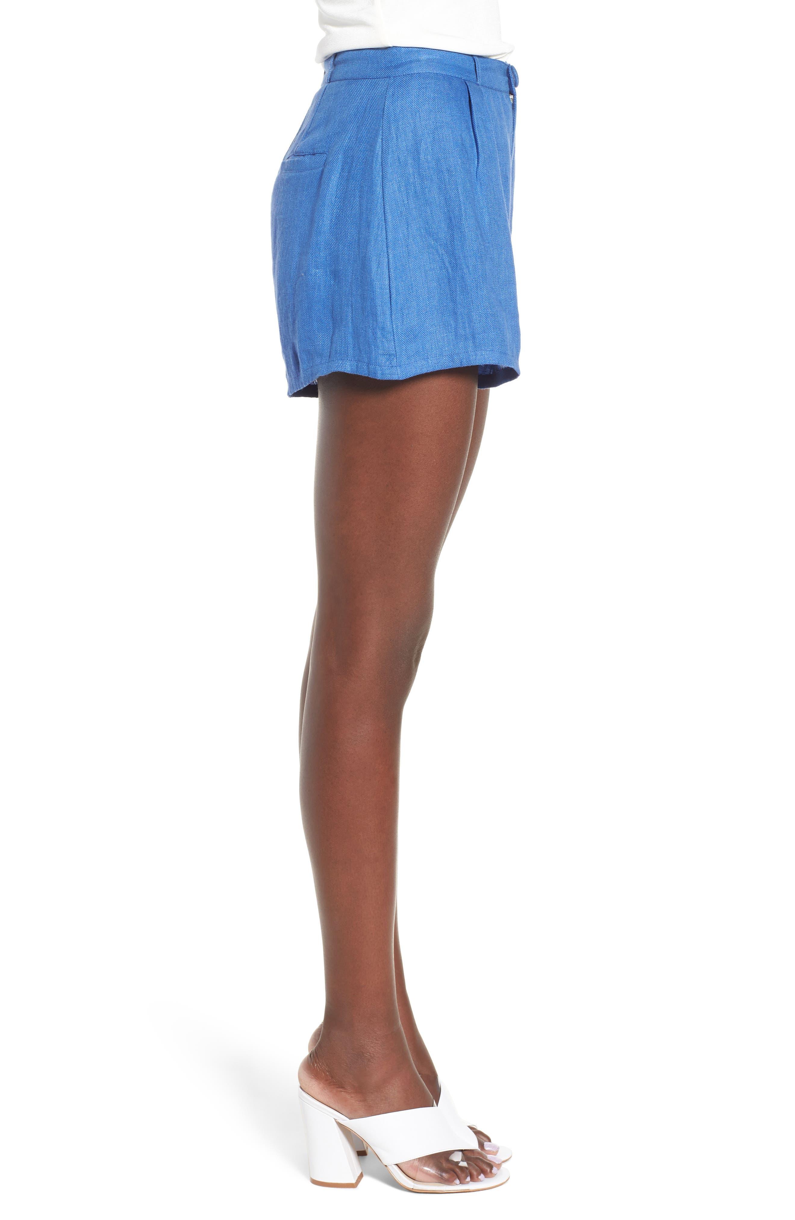 Jordy High Waist Shorts,                             Alternate thumbnail 4, color,                             Blue
