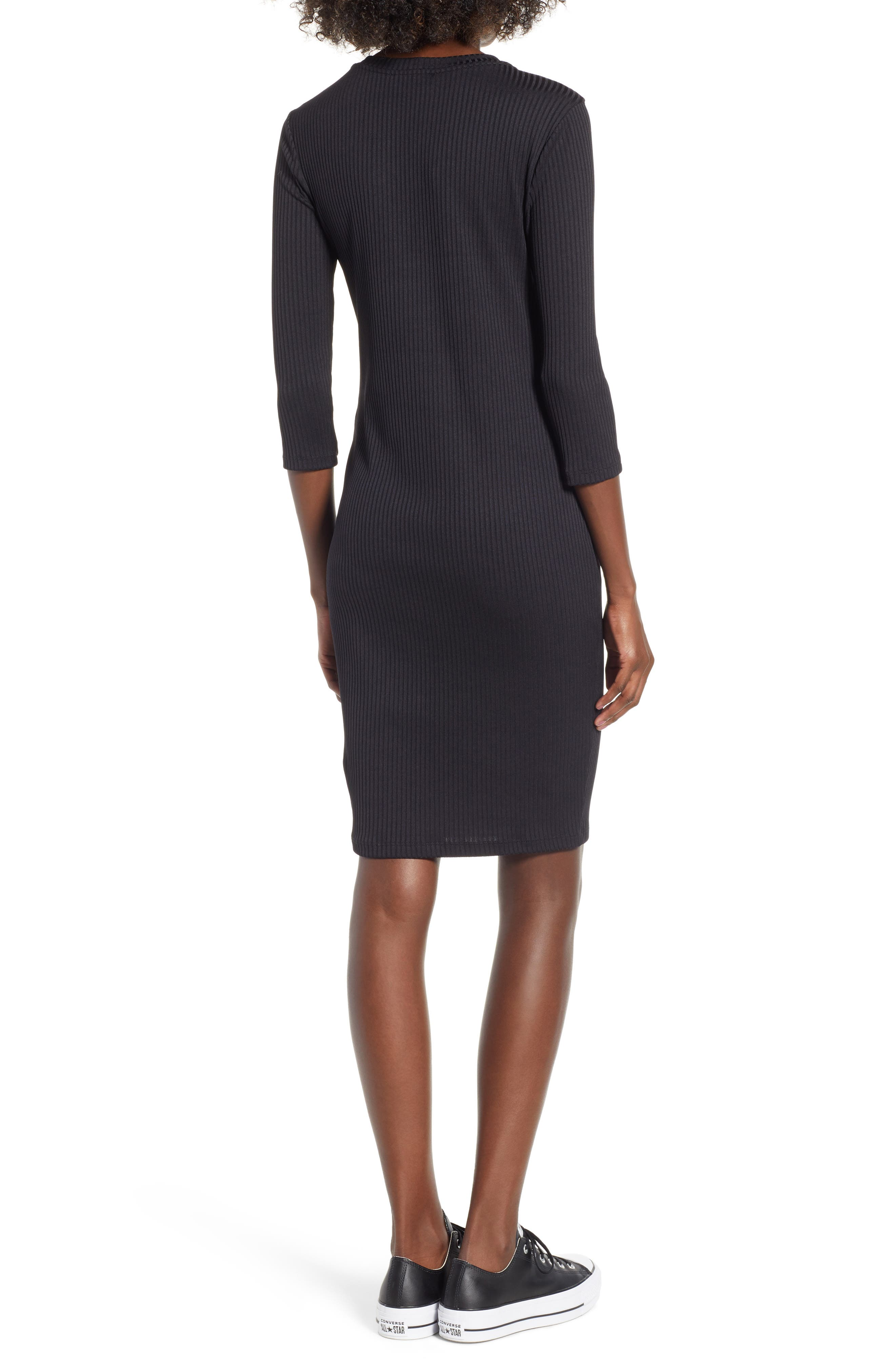 Ribbed Body-Con Minidress,                             Alternate thumbnail 2, color,                             Black