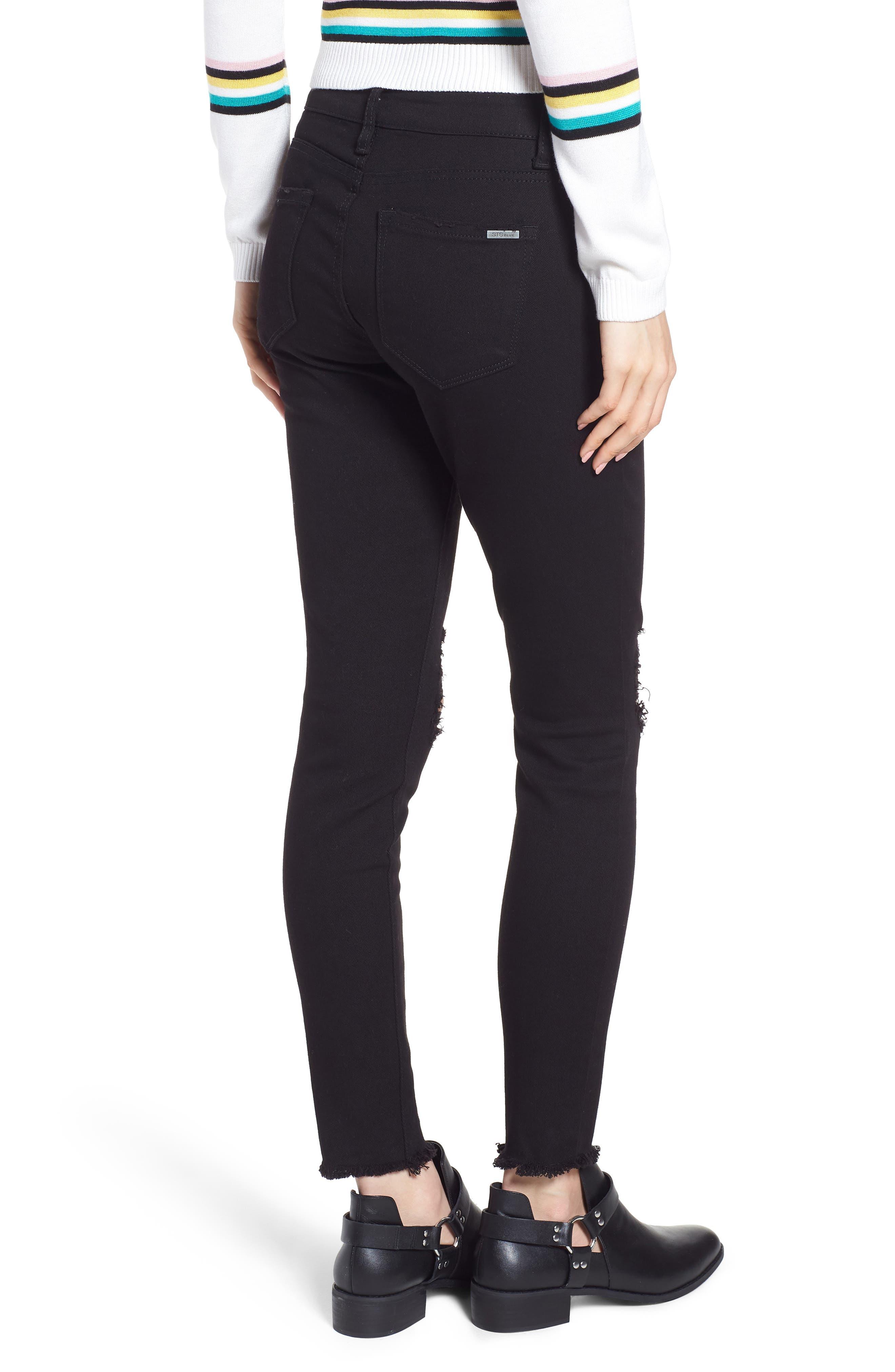 Emma Ripped Fray Hem Skinny Jeans,                             Alternate thumbnail 2, color,                             Black