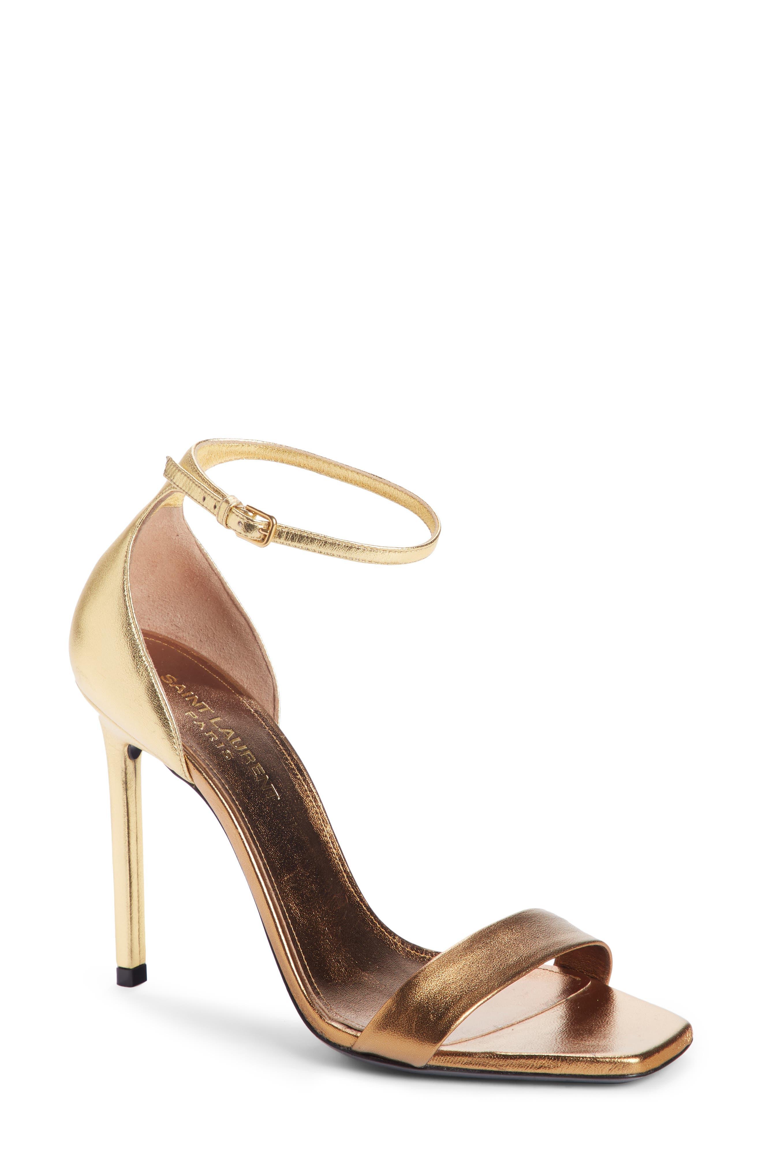 Amber Ankle Strap Sandal,                         Main,                         color, Bronze Gold