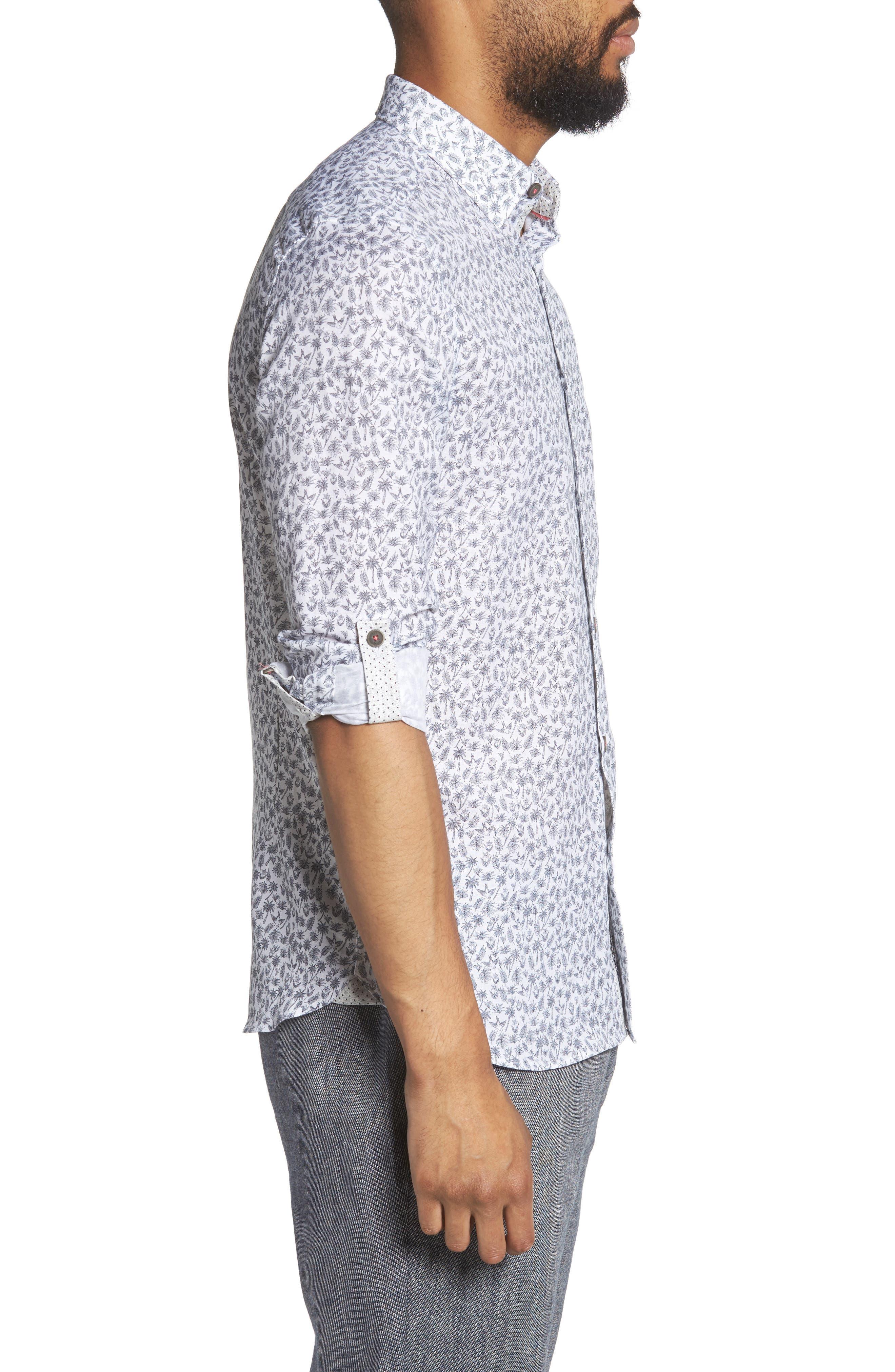 Nazta Trim Fit Tropical Print Sport Shirt,                             Alternate thumbnail 4, color,                             White