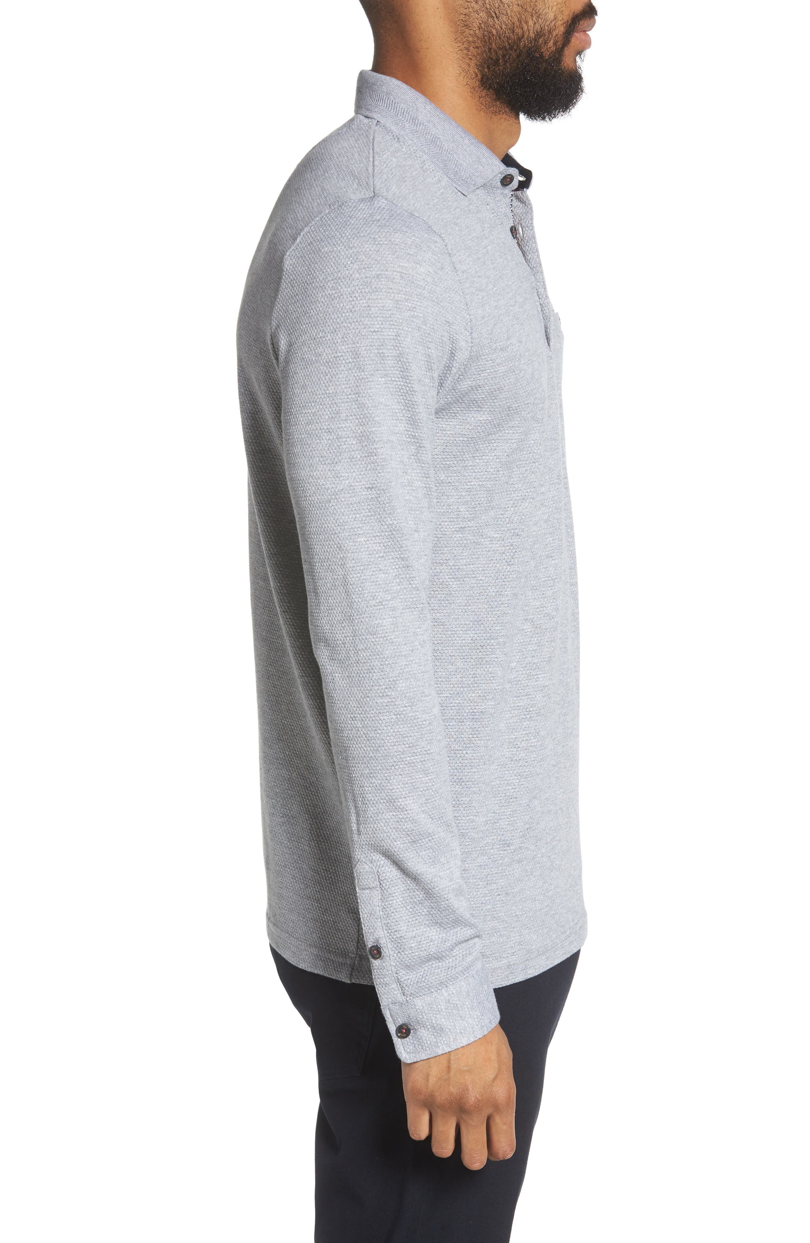 Scooby Trim Fit Long Sleeve Polo Shirt,                             Alternate thumbnail 3, color,                             Grey Marl