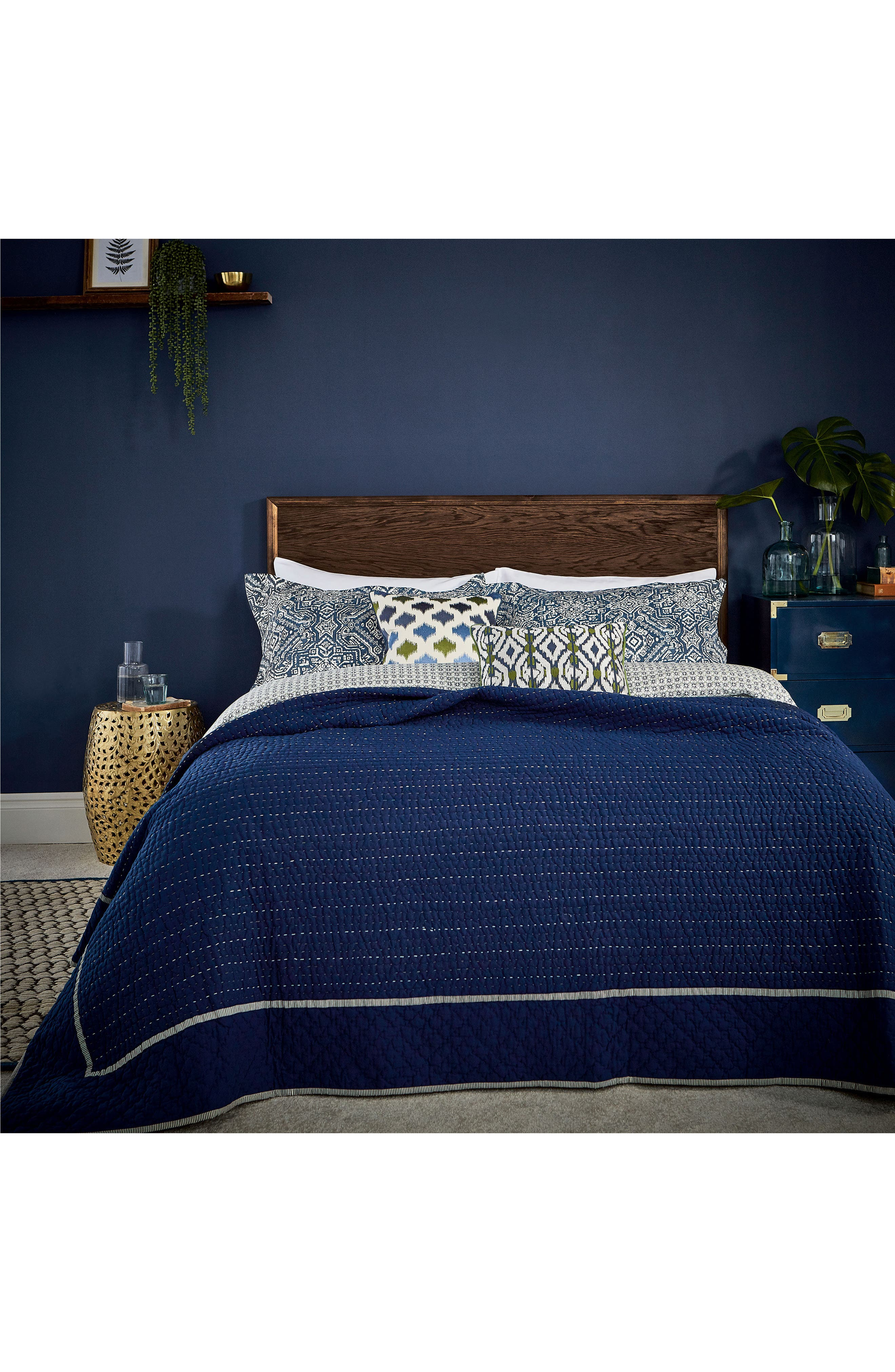 Ila Hand Stitched Kantha Quilt,                         Main,                         color, Navy