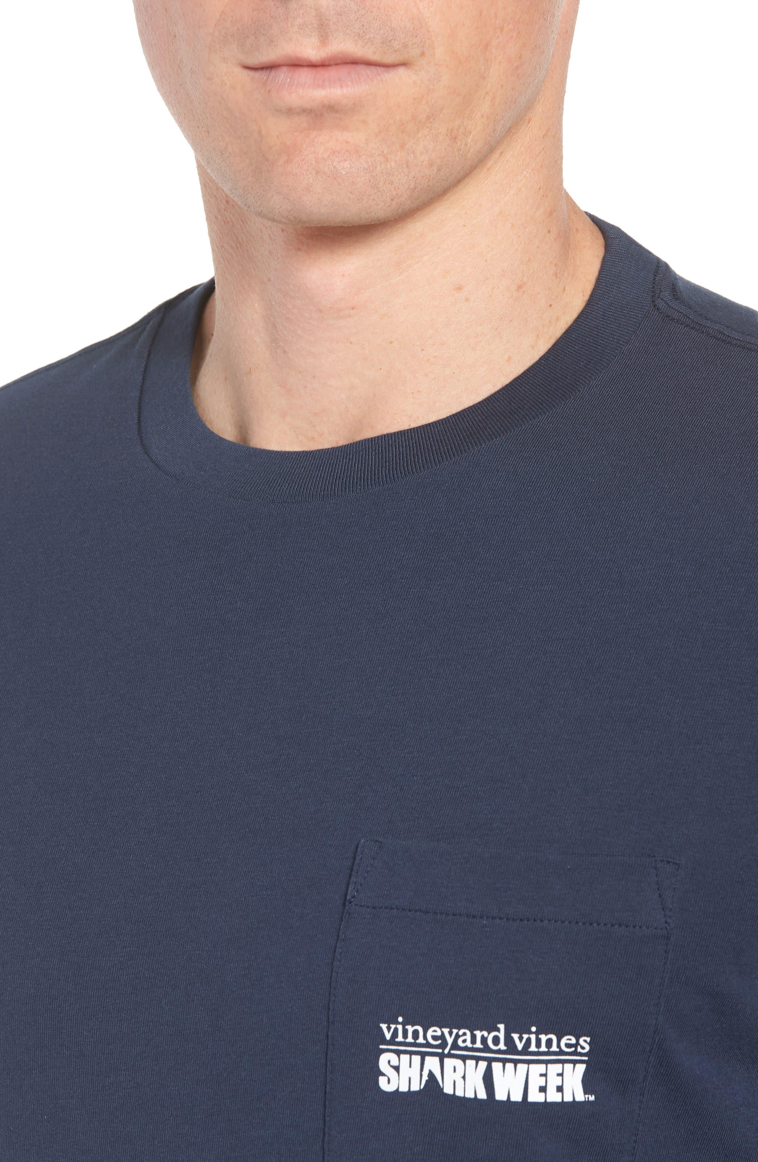 x Shark Week<sup>™</sup> Logo Long Sleeve Pocket T-Shirt,                             Alternate thumbnail 4, color,                             Vineyard Navy