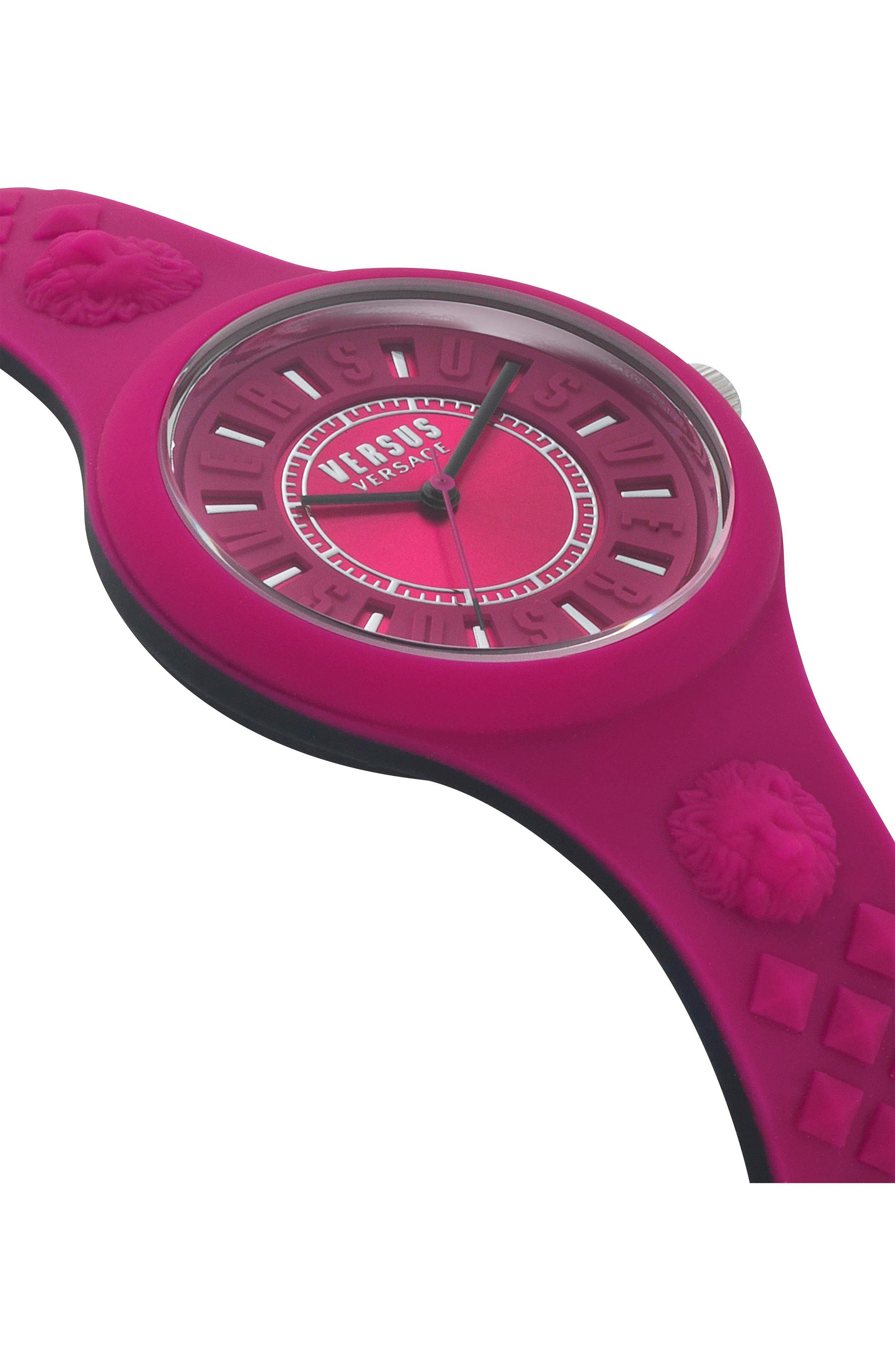 VERSUS by Versace Fire Island Silicone Strap Watch, 39mm,                             Alternate thumbnail 3, color,                             Fuchsia/ Grey