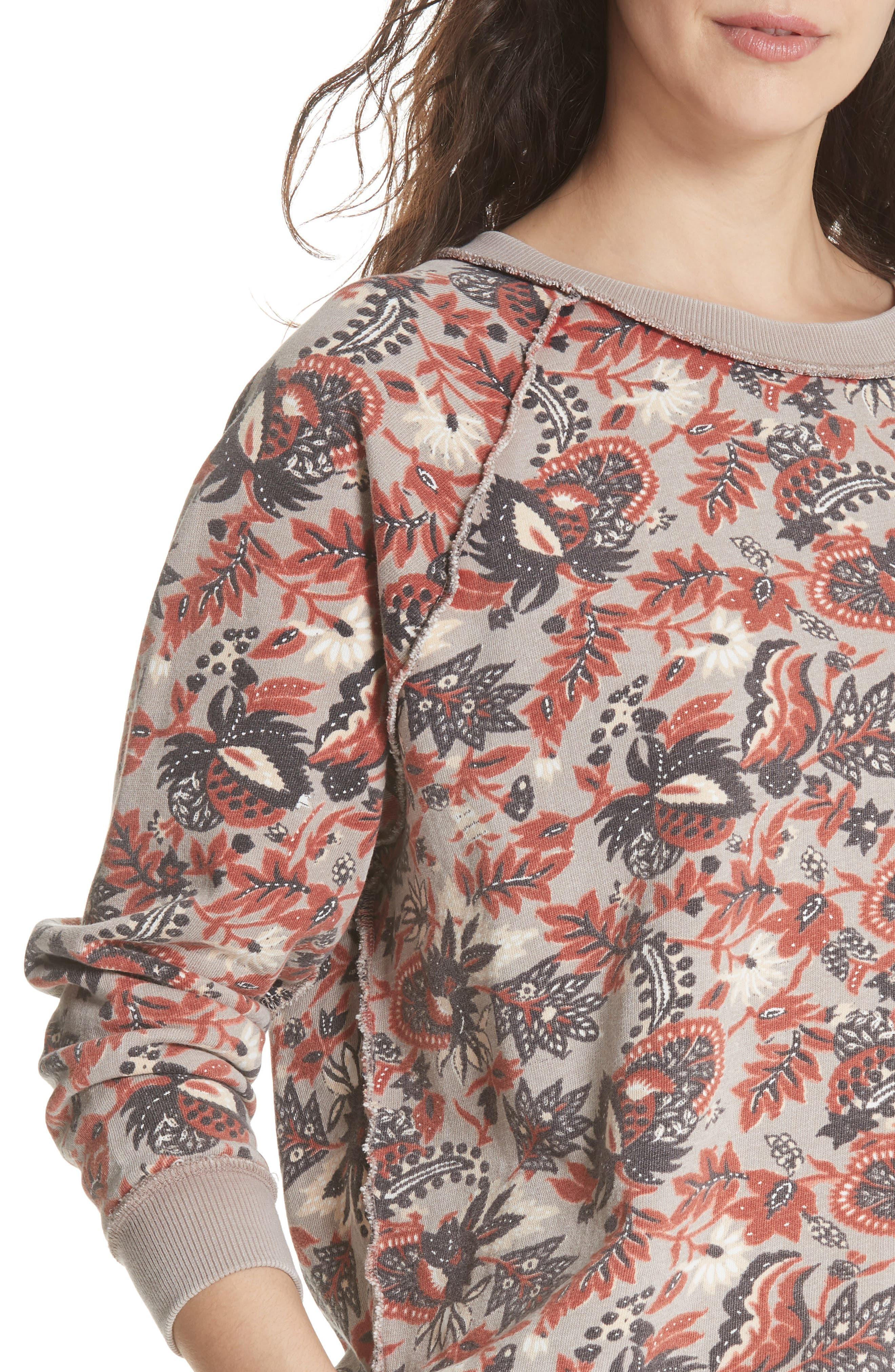 Go on Get Floral Sweatshirt,                             Alternate thumbnail 4, color,                             Brown