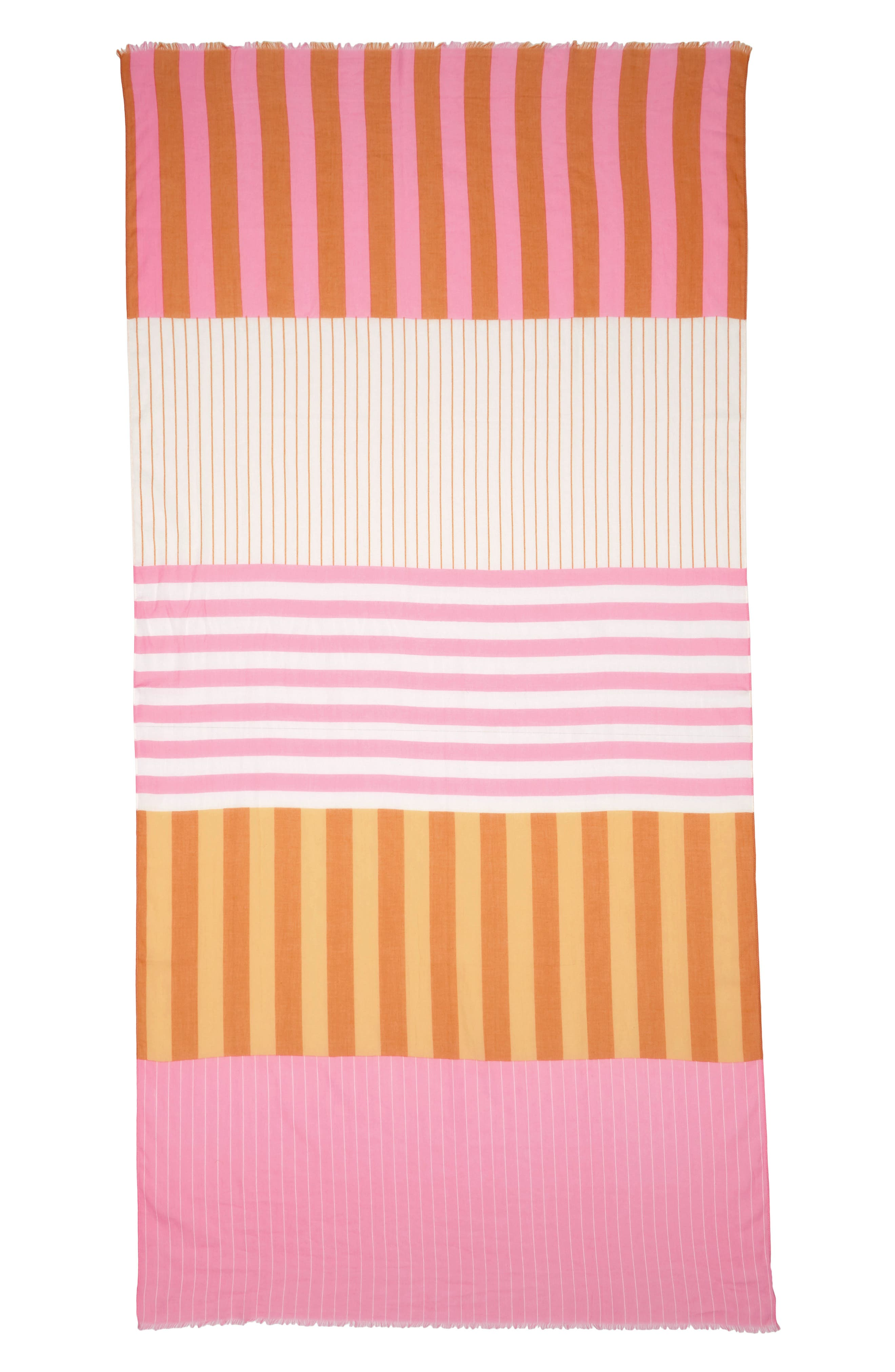 Fes Stripe Scarf,                             Alternate thumbnail 3, color,                             Gold/Pink/Cream