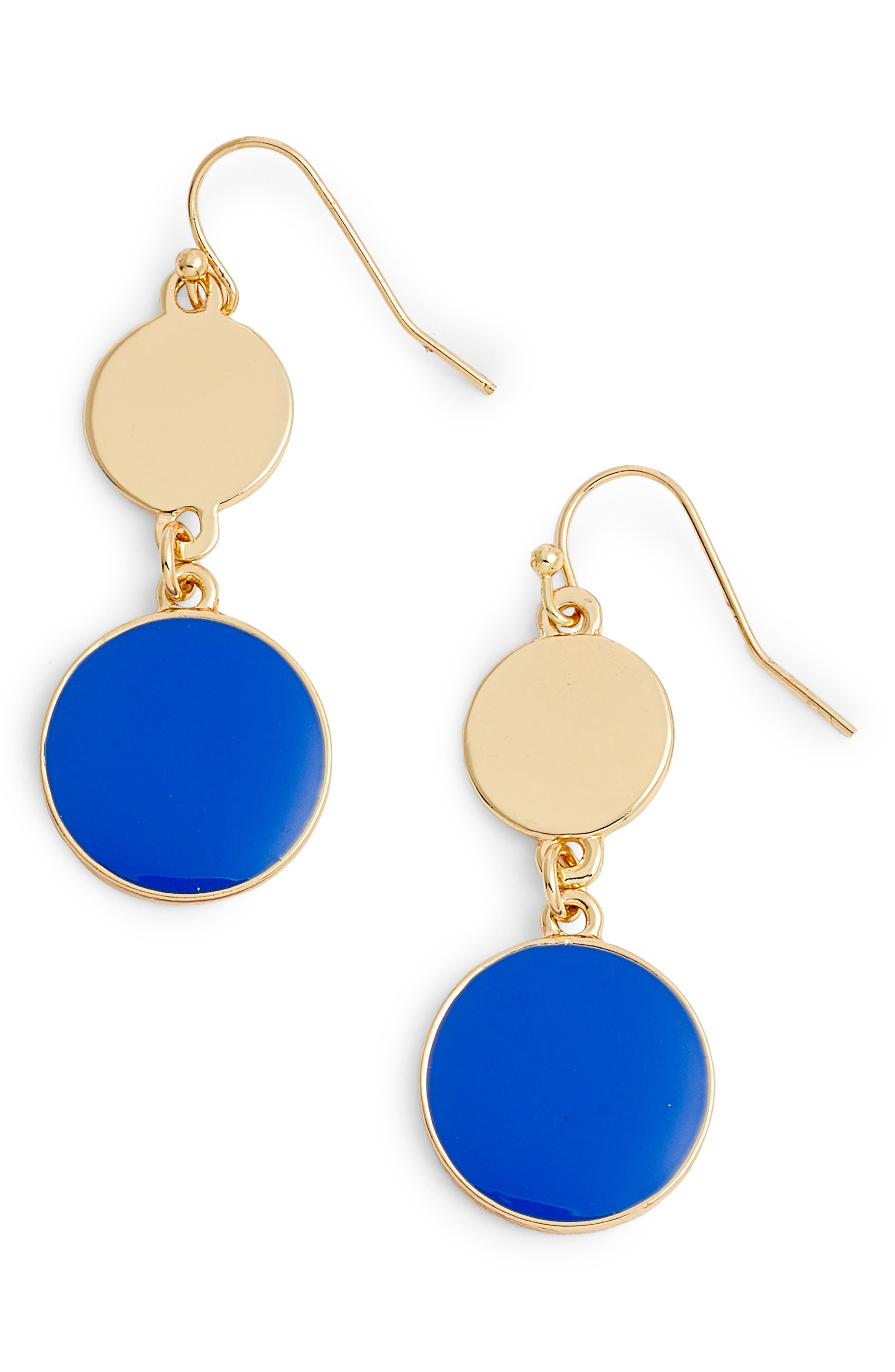 Double Disc Drop Earrings,                         Main,                         color, Blue- Gold