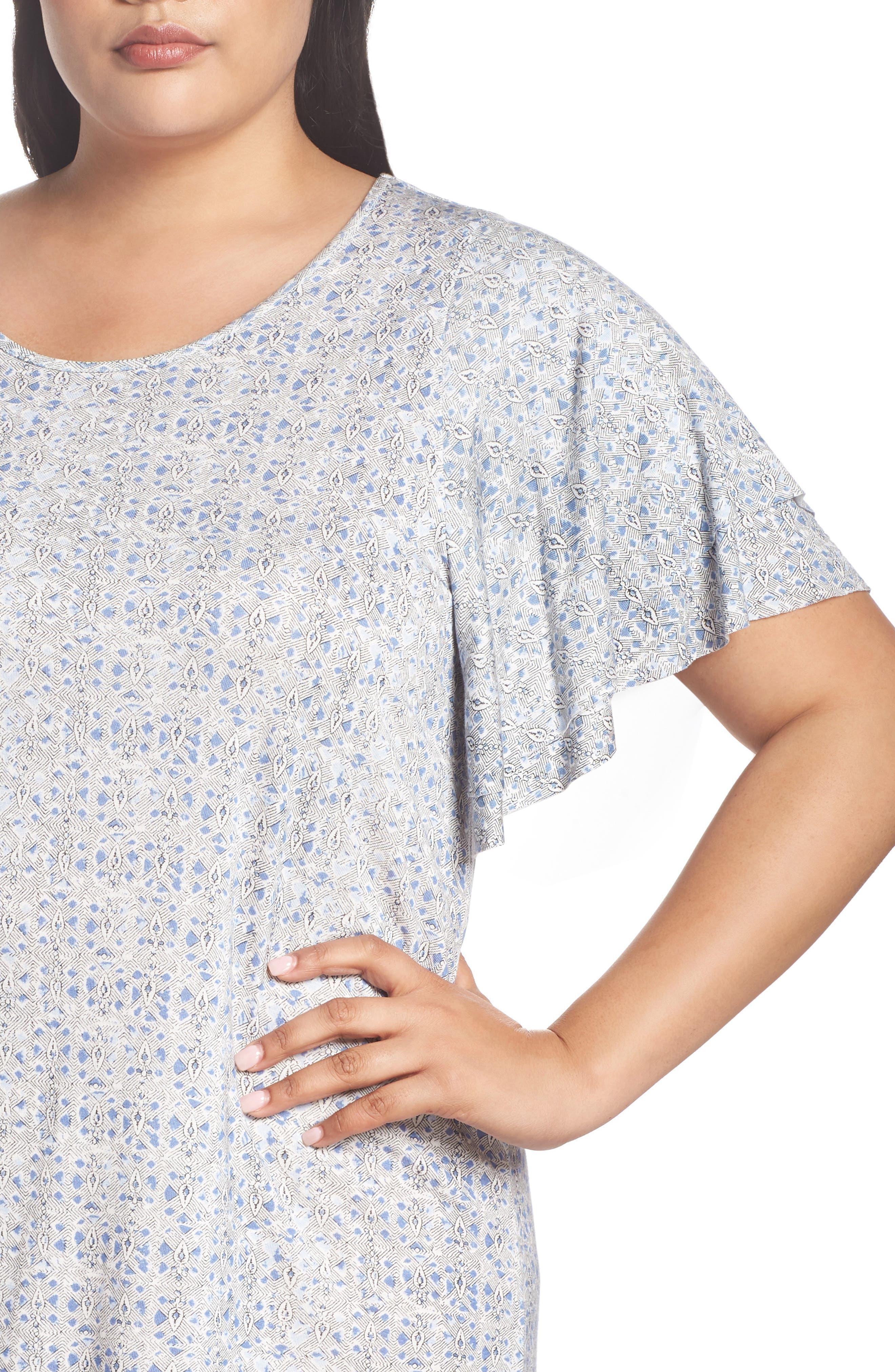Ruffle Sleeve Print Shift Dress,                             Alternate thumbnail 4, color,                             Blue Multi