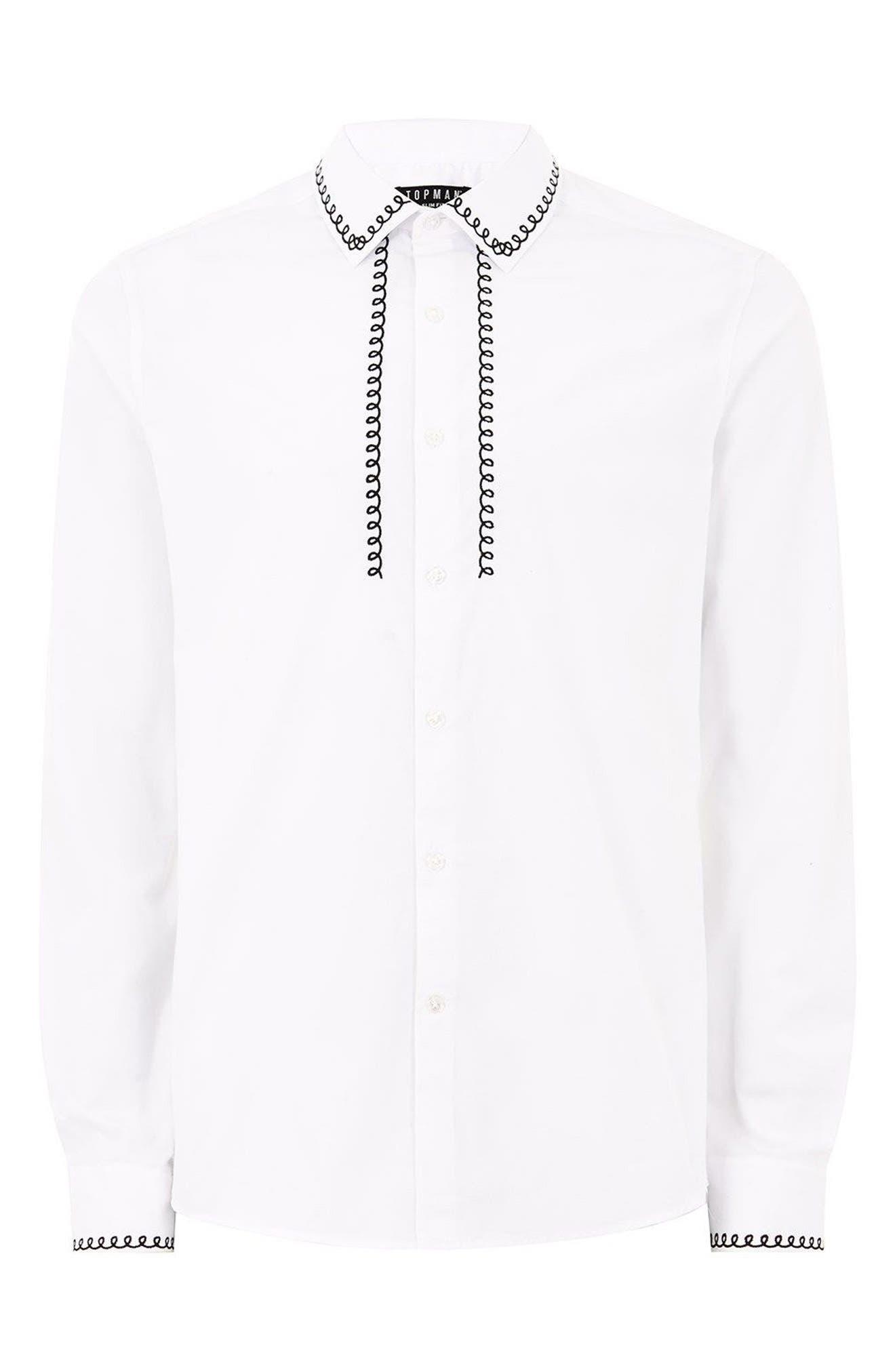 Phone Cable Dress Shirt,                             Alternate thumbnail 5, color,                             White Multi