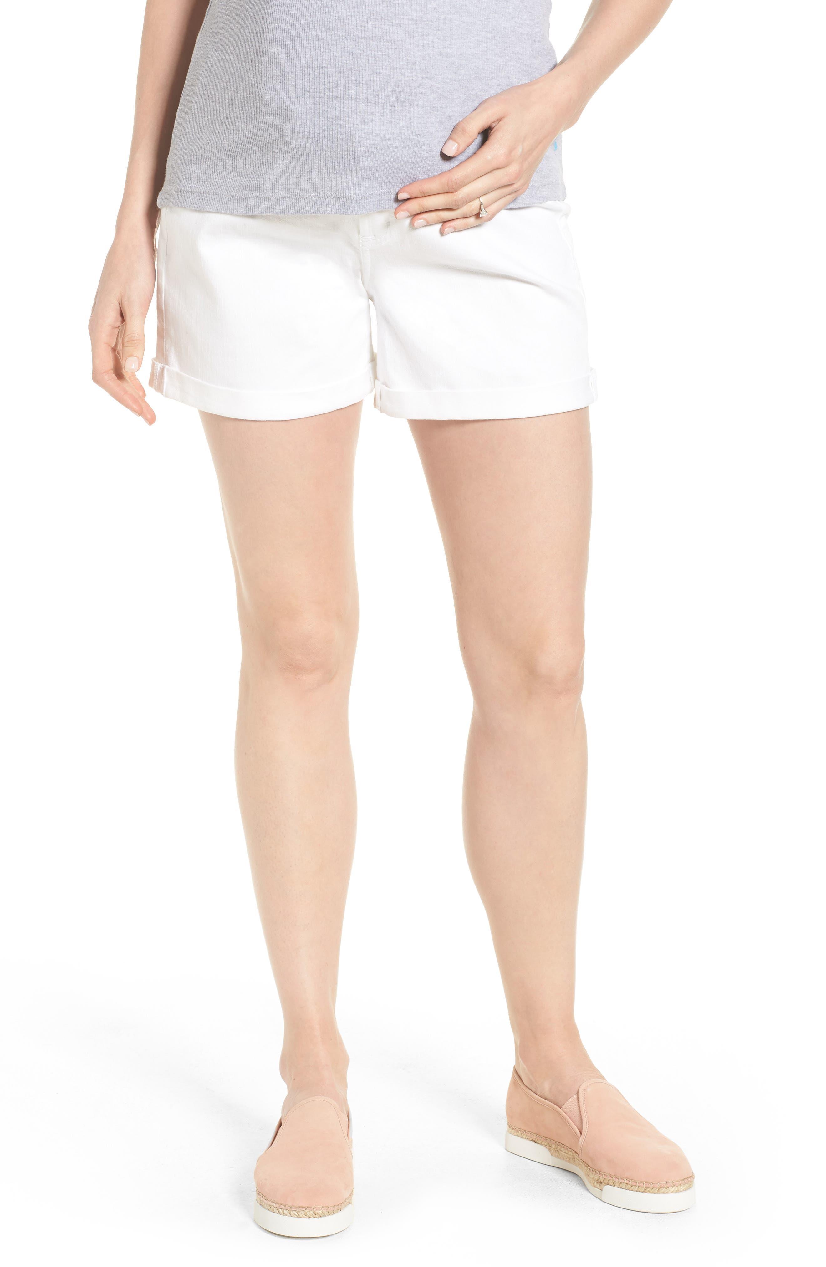 Mia Maternity Boyfriend Shorts,                             Main thumbnail 1, color,                             White
