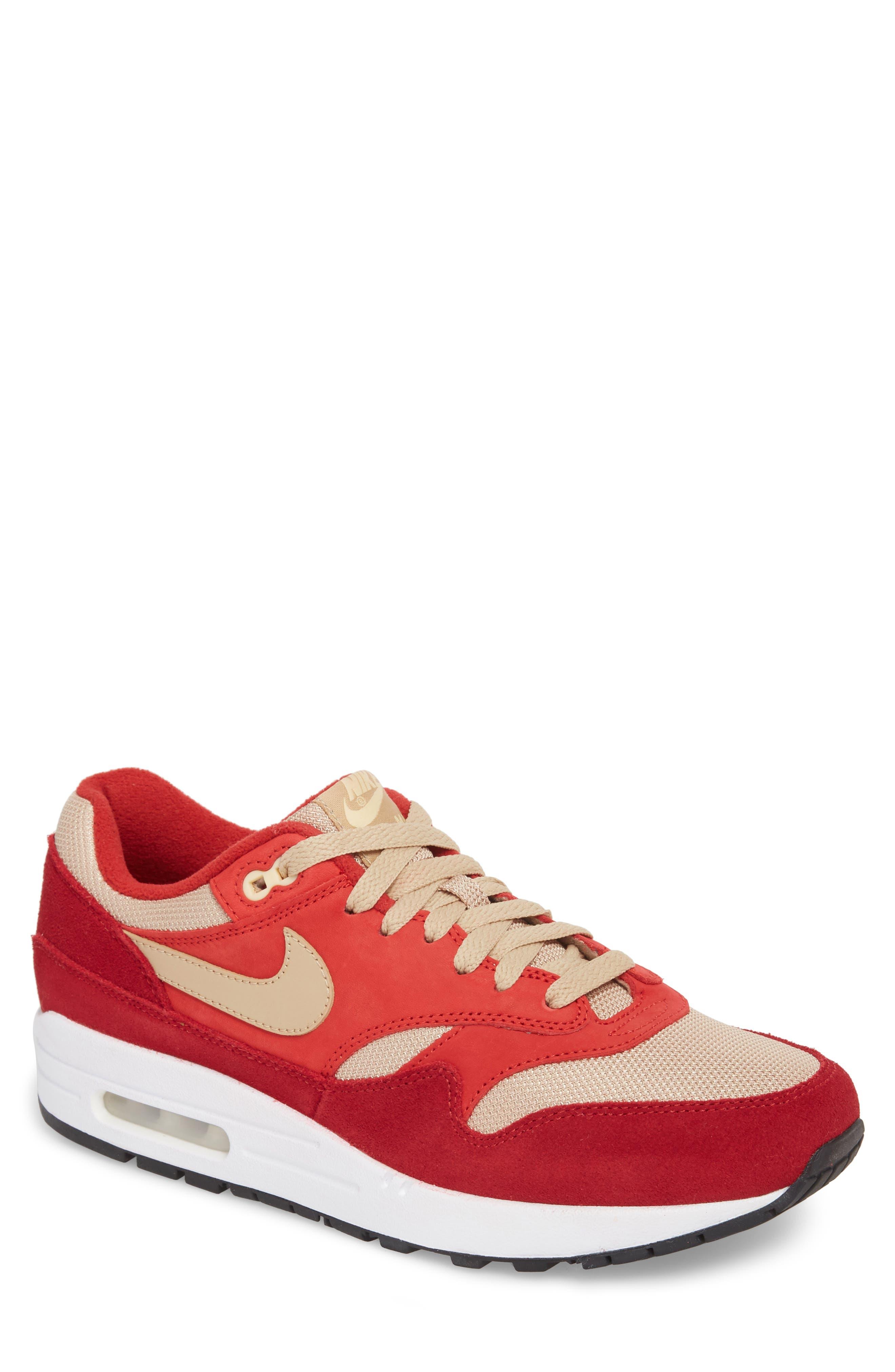 Air Max 1 Premium Retro Sneaker,                             Main thumbnail 1, color,                             Red/ Mushroom-Red-Vanilla