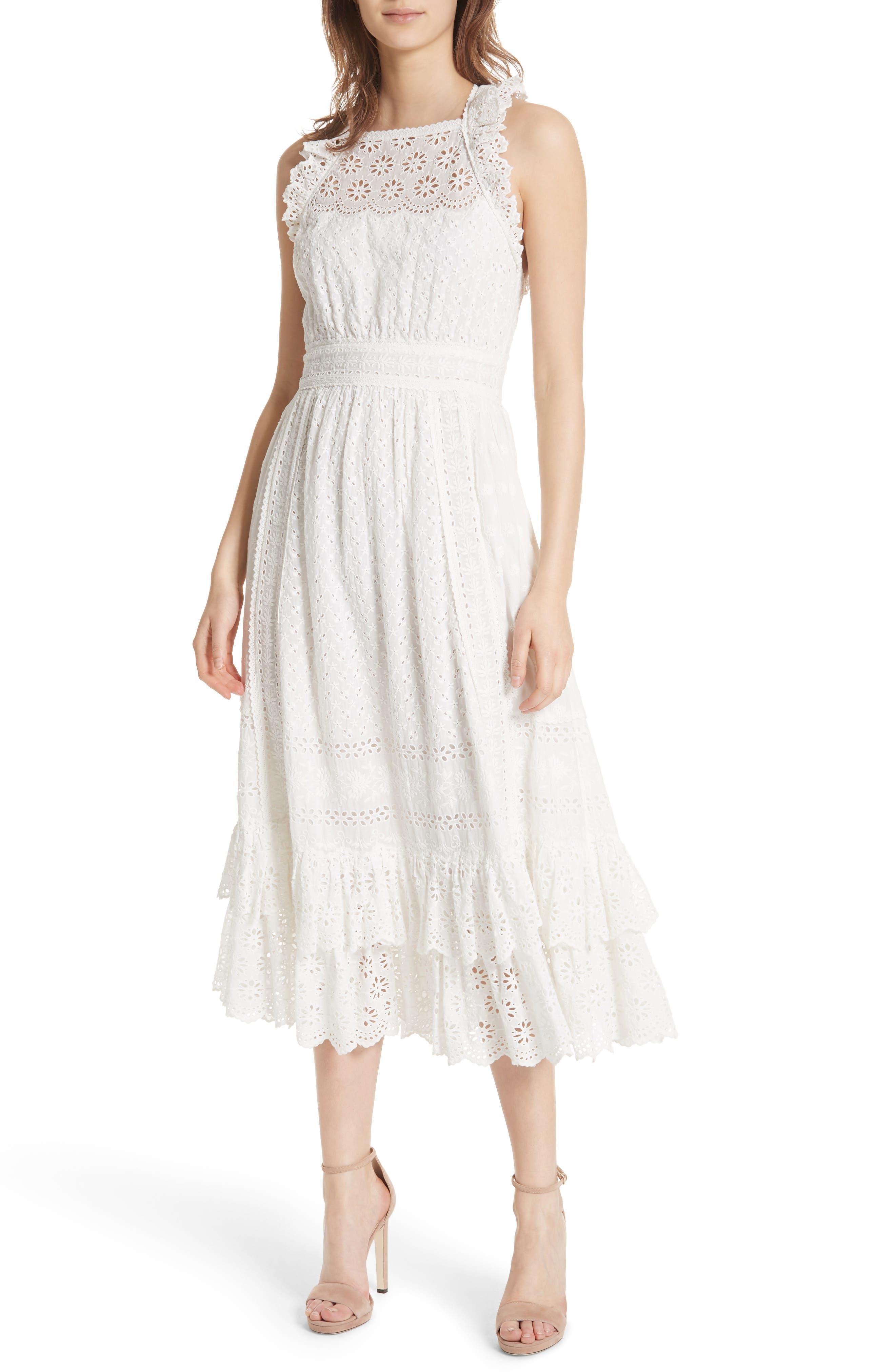 Willow Eyelet Dress,                             Main thumbnail 1, color,                             Blanc