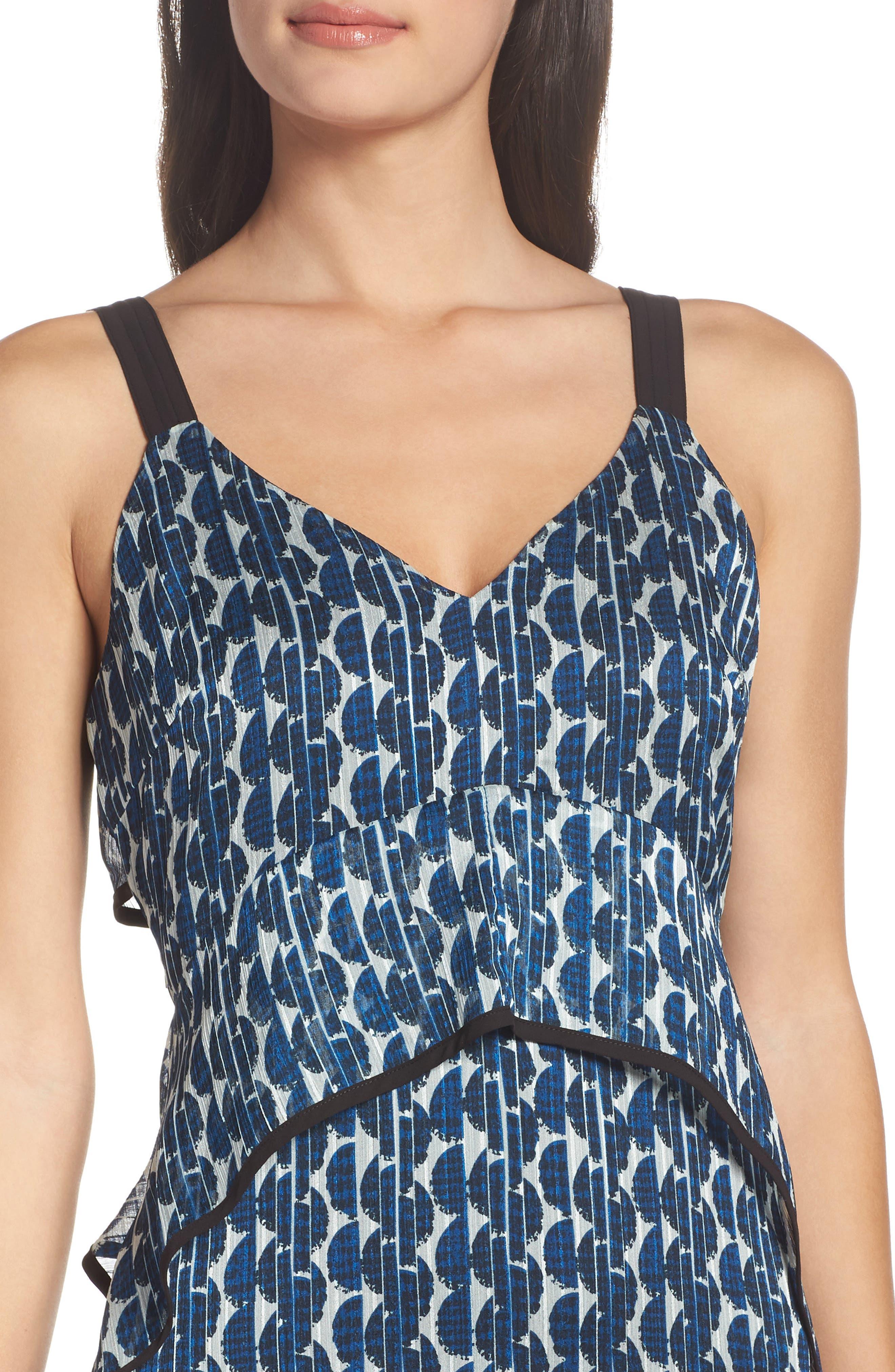 Print Frill Midi Dress,                             Alternate thumbnail 4, color,                             Blue/ Black