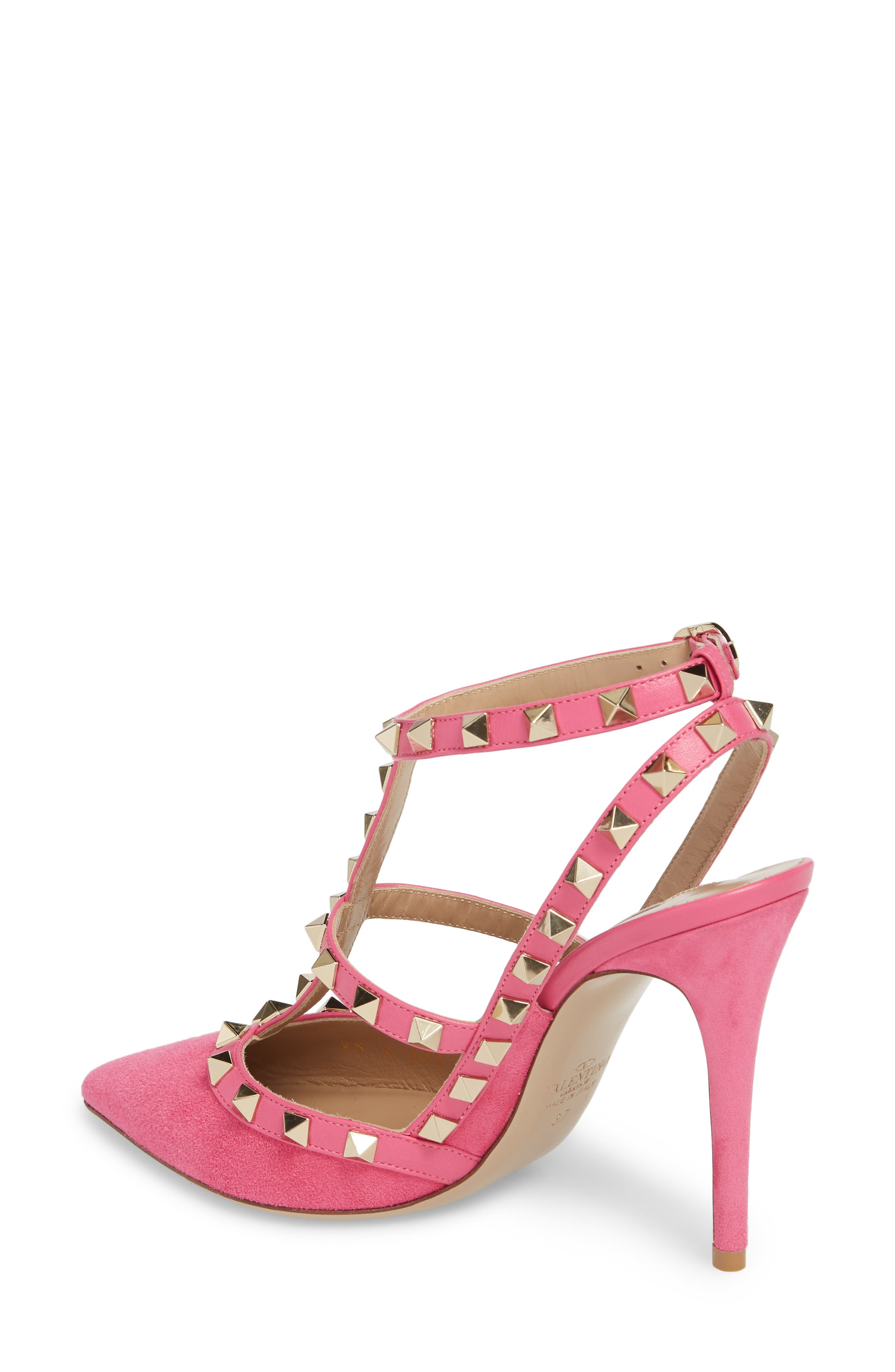 Rockstud T-Strap Pump,                             Alternate thumbnail 2, color,                             Pink/ Pink