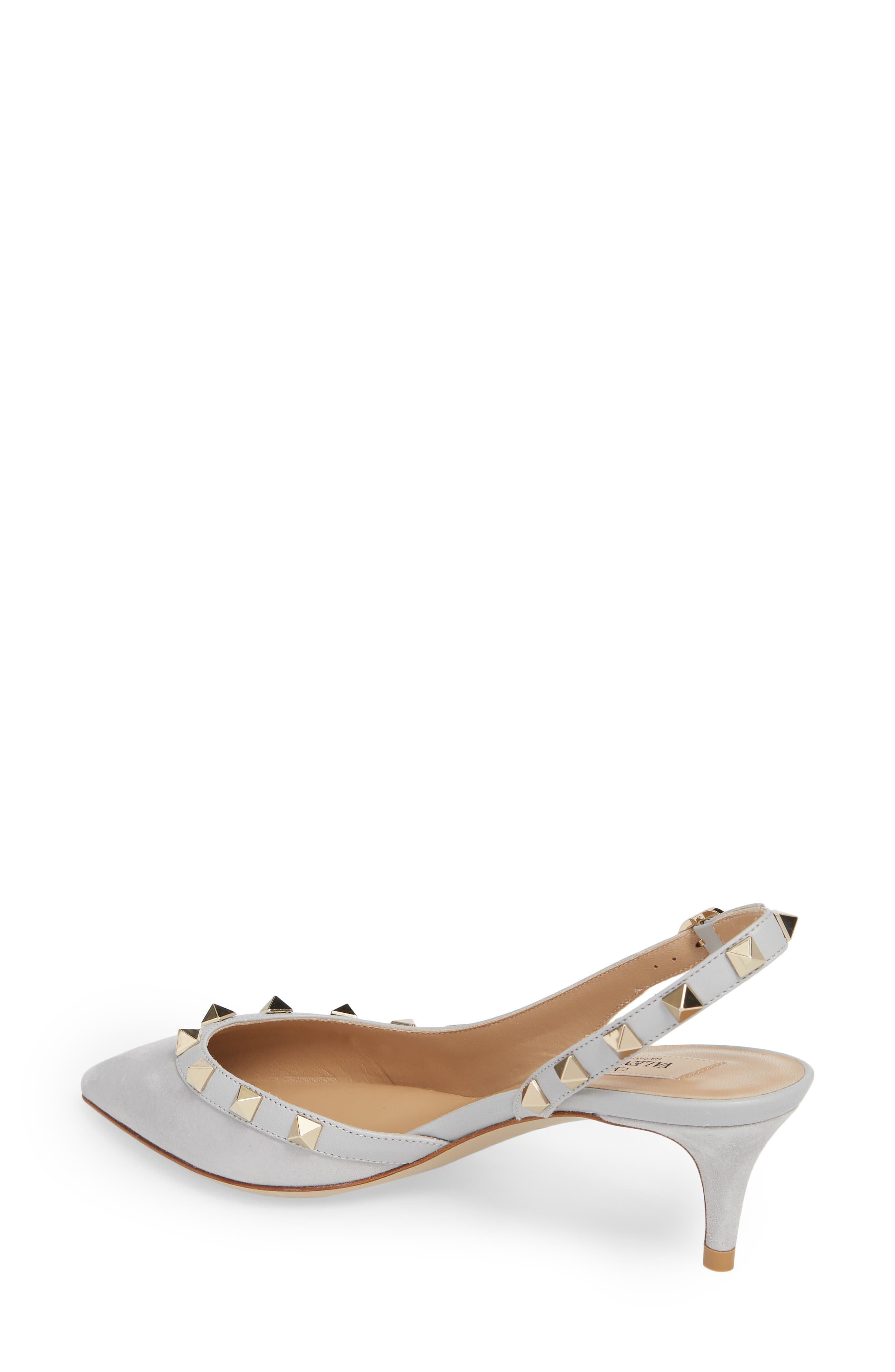 Rockstud Slingback Pump,                             Alternate thumbnail 2, color,                             Pastel Grey Suede