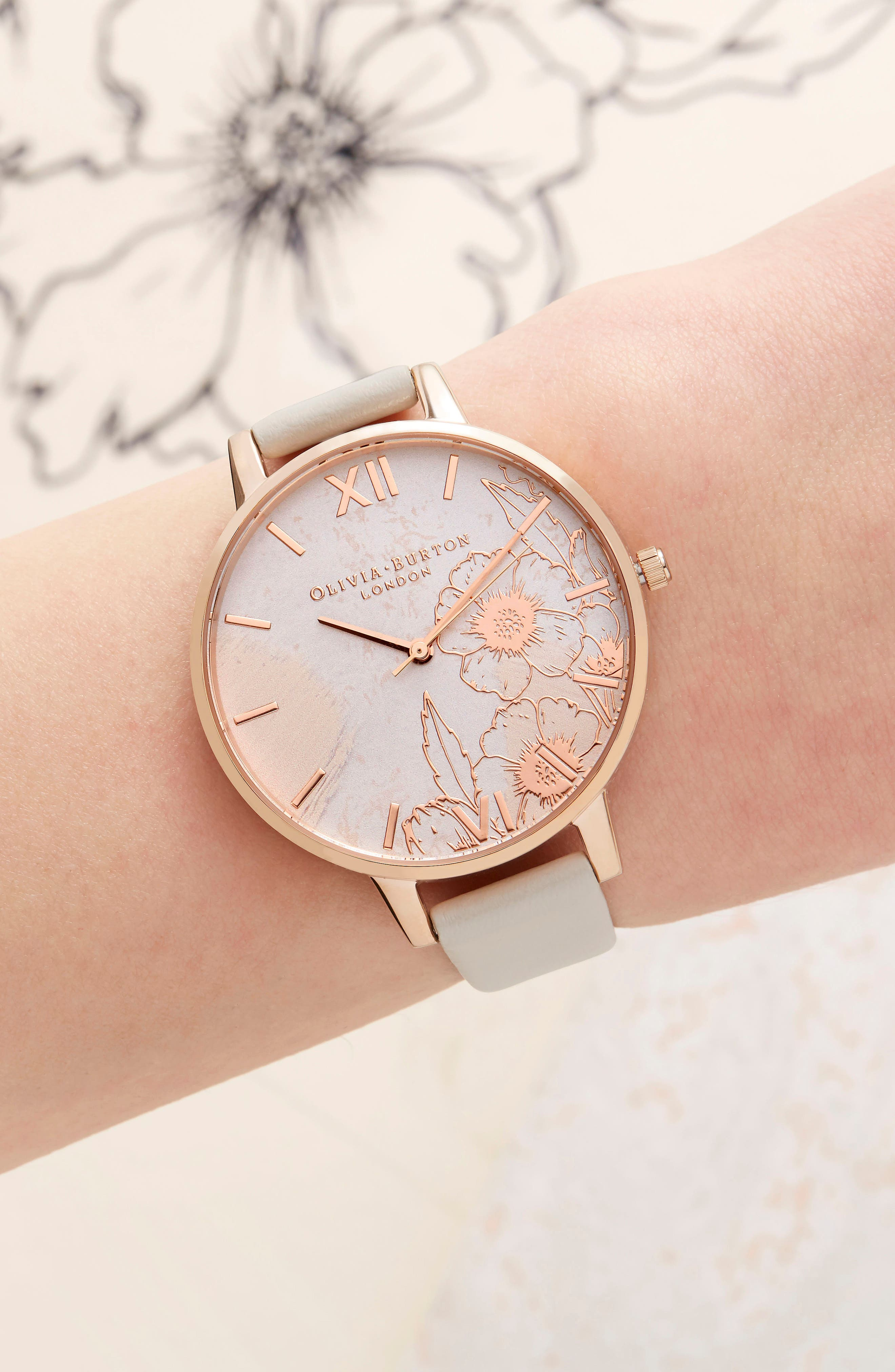 Abstract Floral Faux Leather Strap Watch, 38mm,                             Alternate thumbnail 4, color,                             Nude/ Floral/ Rose Gold