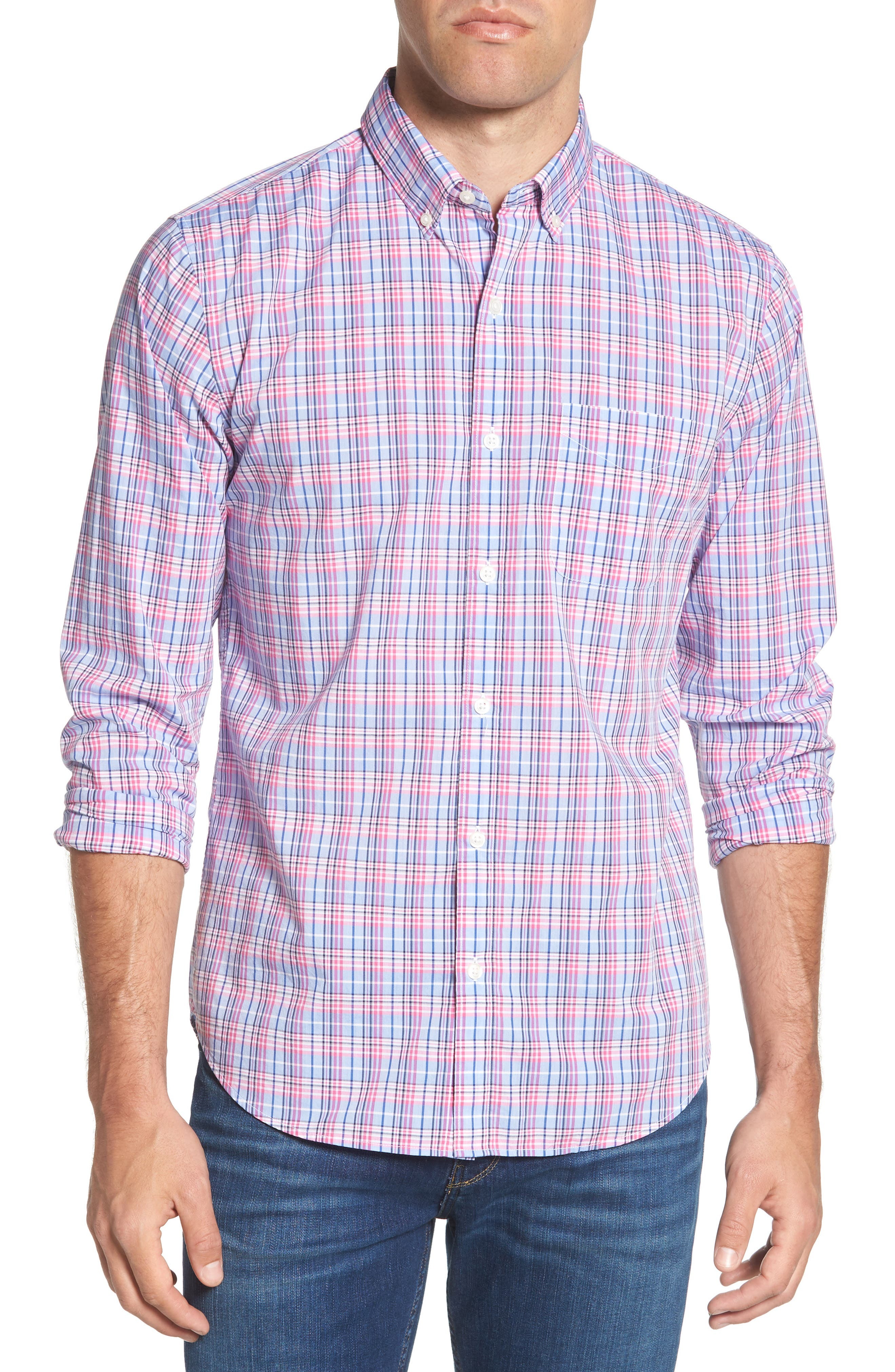 Summerweight Slim Fit Plaid Sport Shirt,                         Main,                         color, Basswood Plaid - Pink Rocket